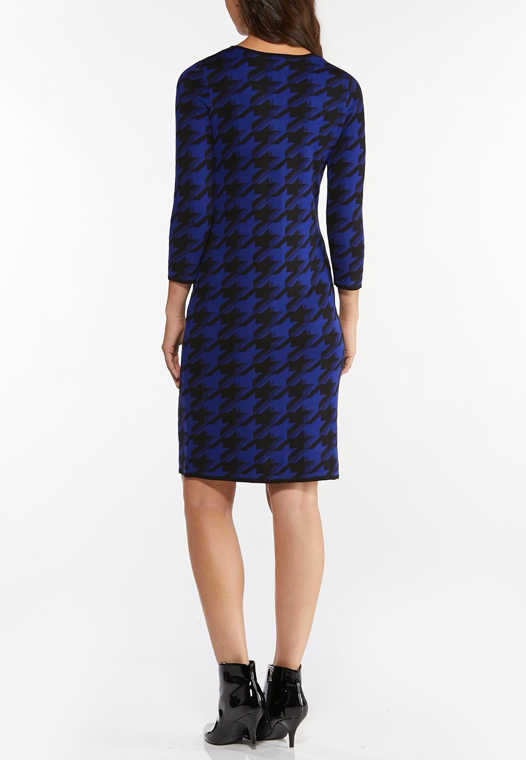 Plus Size Blue Houndstooth Sweater Dress (Item #44440298)