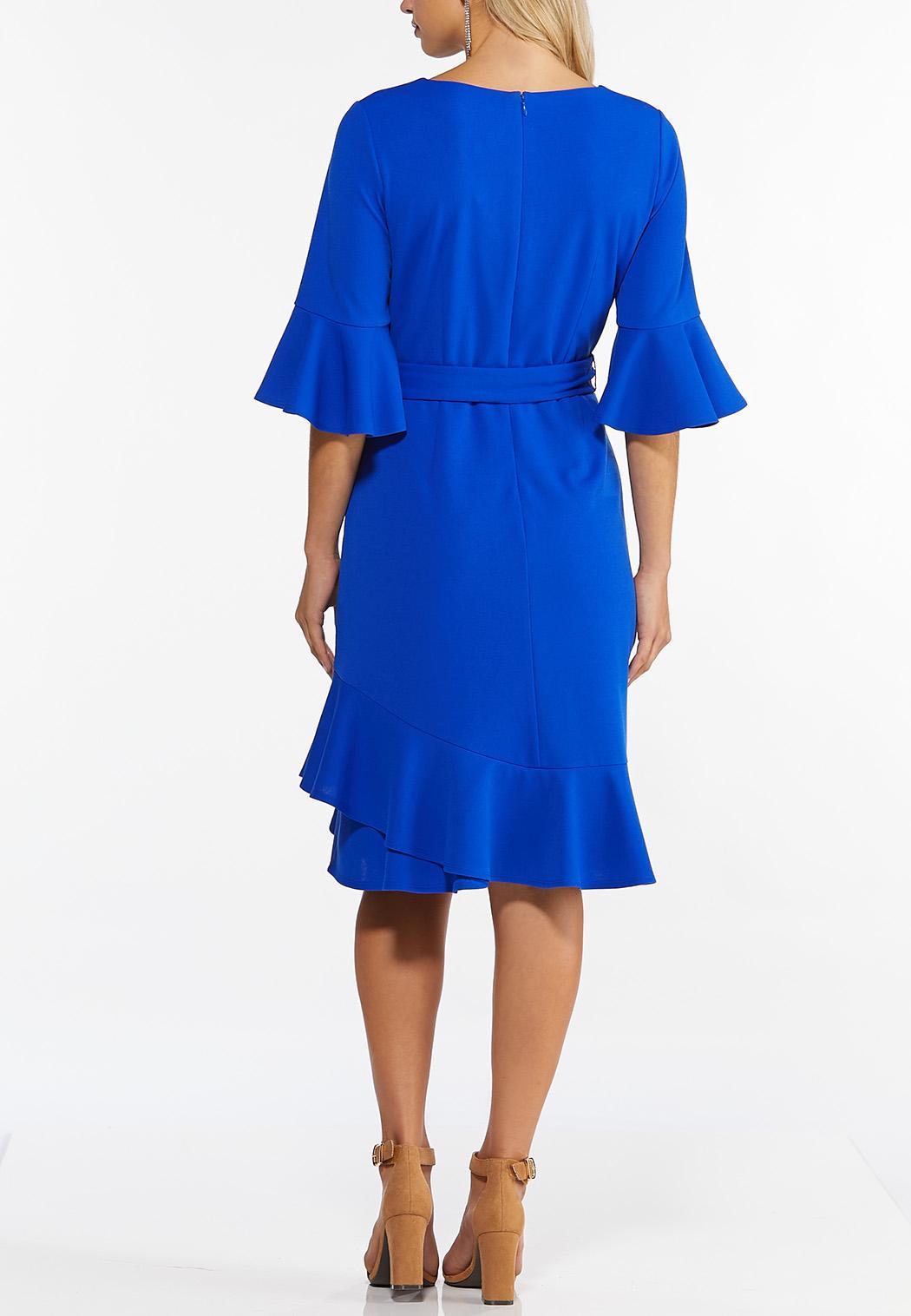 Plus Size Blue Ruffled Trim Dress (Item #44440427)