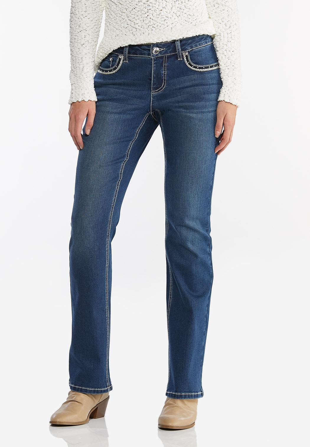 Rhinestone Cross Embellished Jeans (Item #44441067)