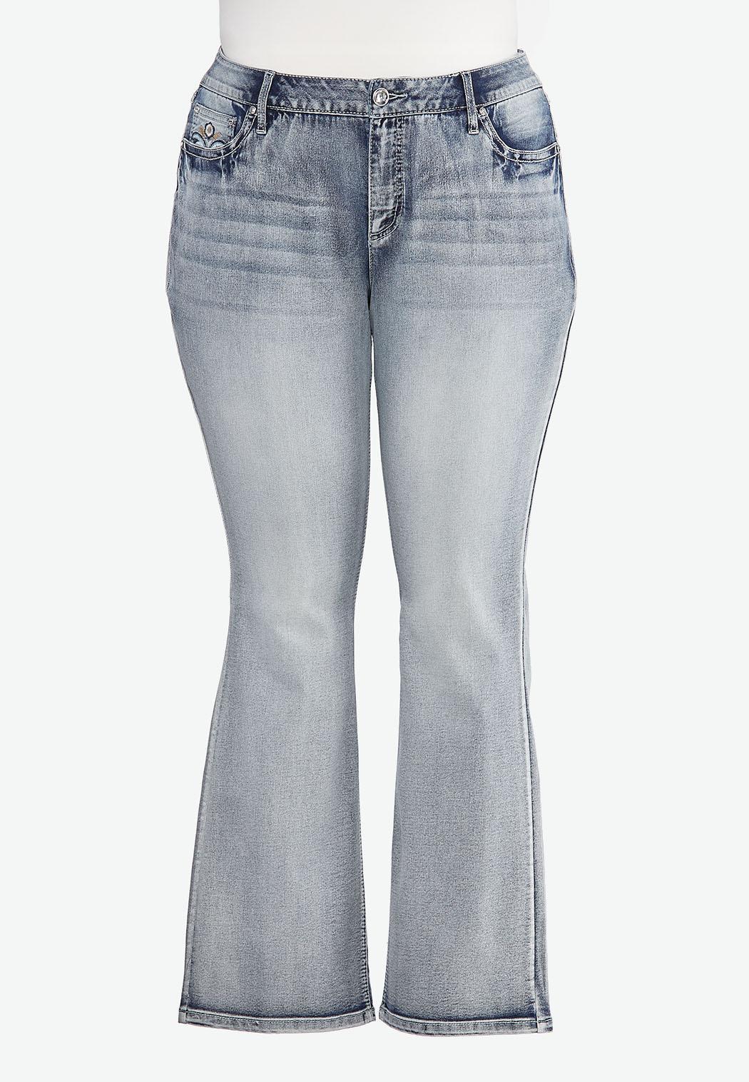 Plus Size Sparkle Pocket Bootcut Jeans (Item #44441217)
