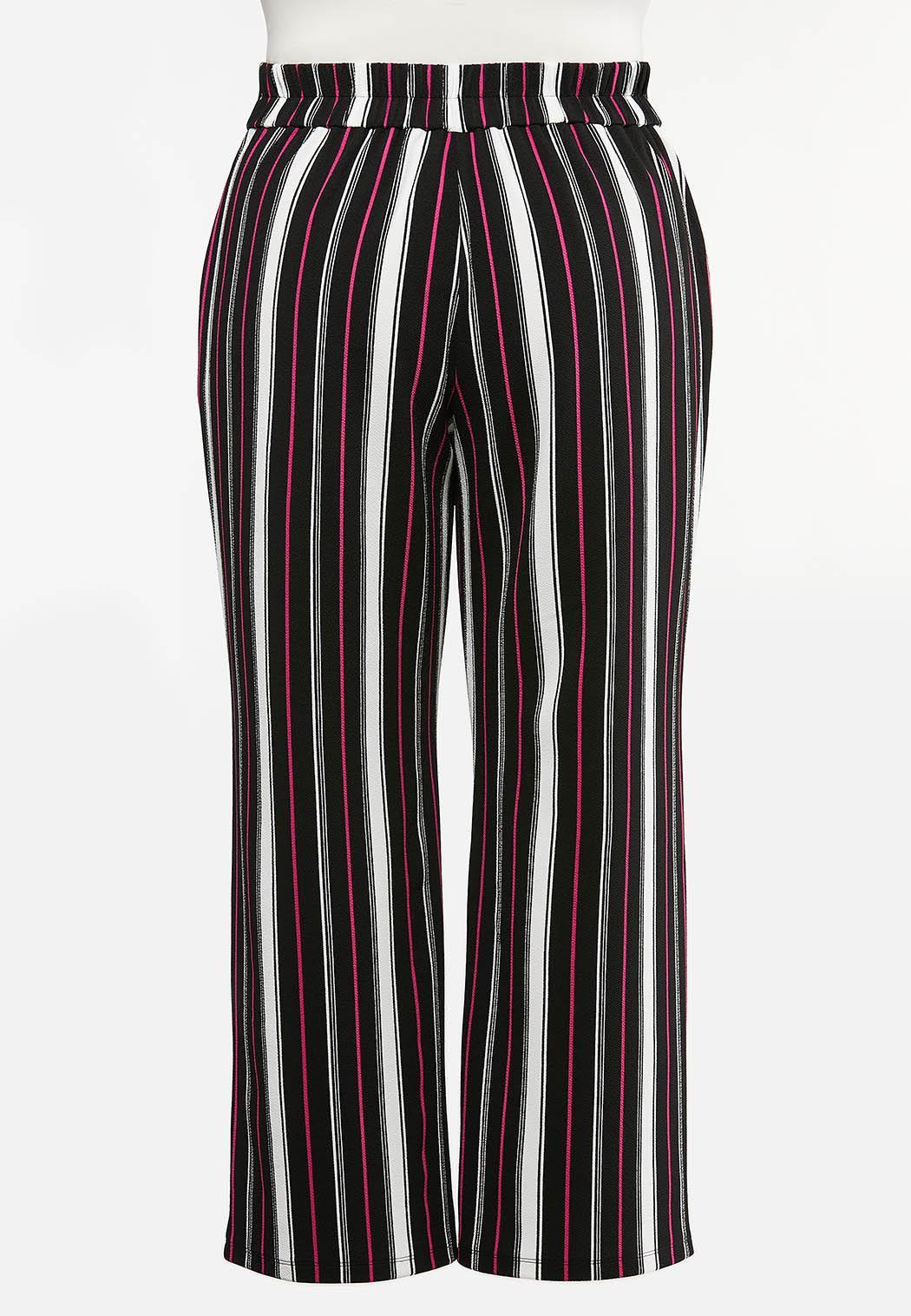 Plus Size Pink Stripe Wide Leg Pants (Item #44441395)