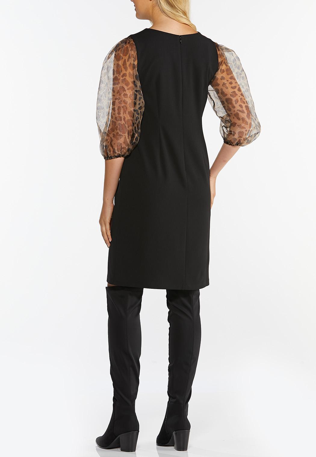 Plus Size Organza Leopard Sheath Dress (Item #44441628)