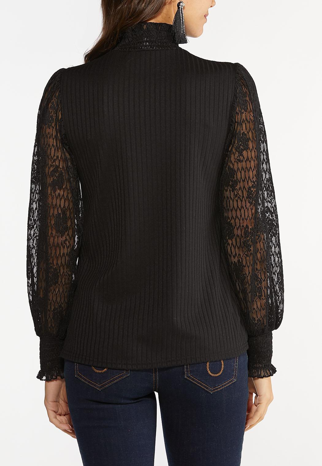 Plus Size Lace Mock Neck Top (Item #44441692)