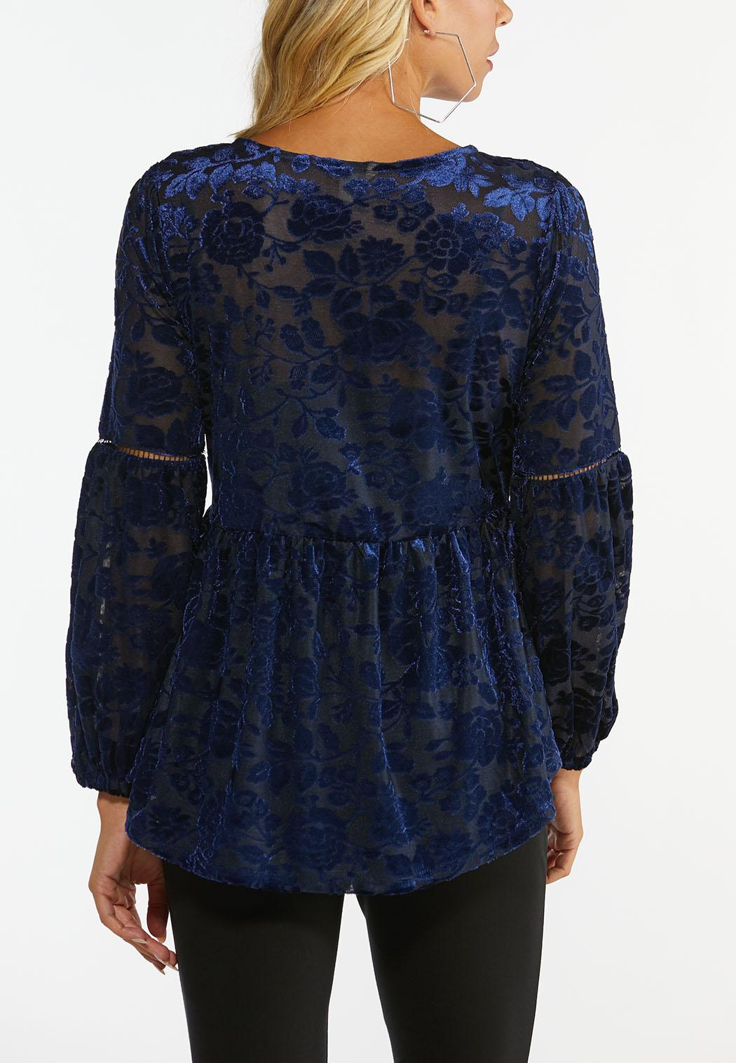 Plus Size Burnout Velvet Peplum Top (Item #44441723)