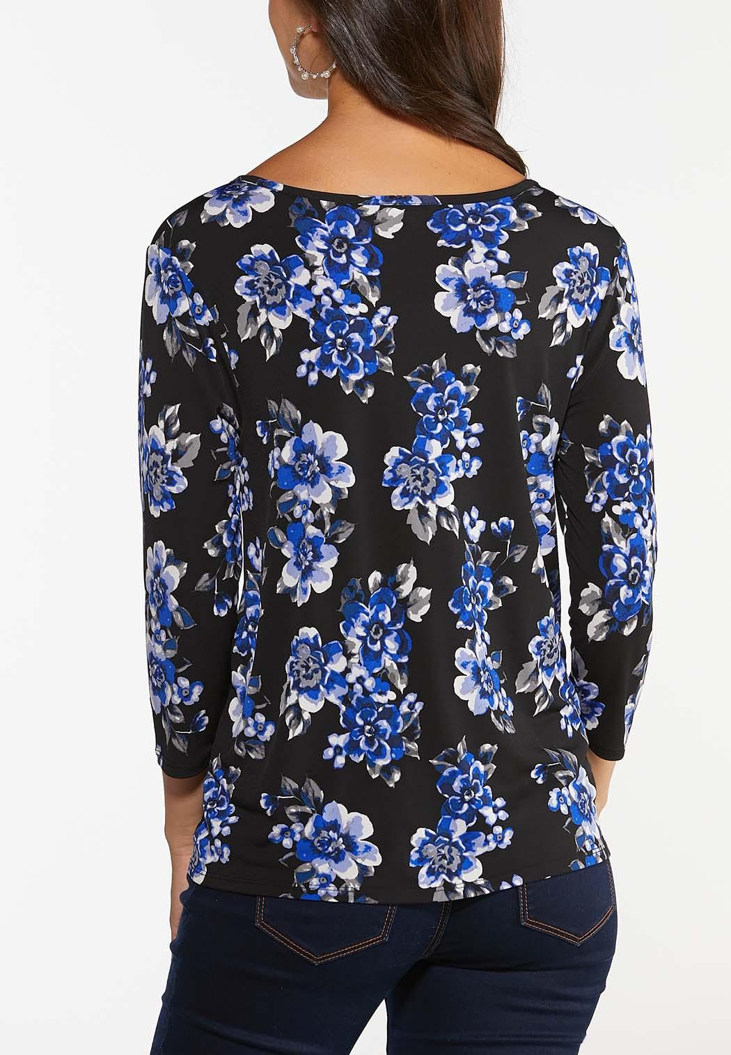 Plus Size Twisted Blue Blossom Top (Item #44442028)