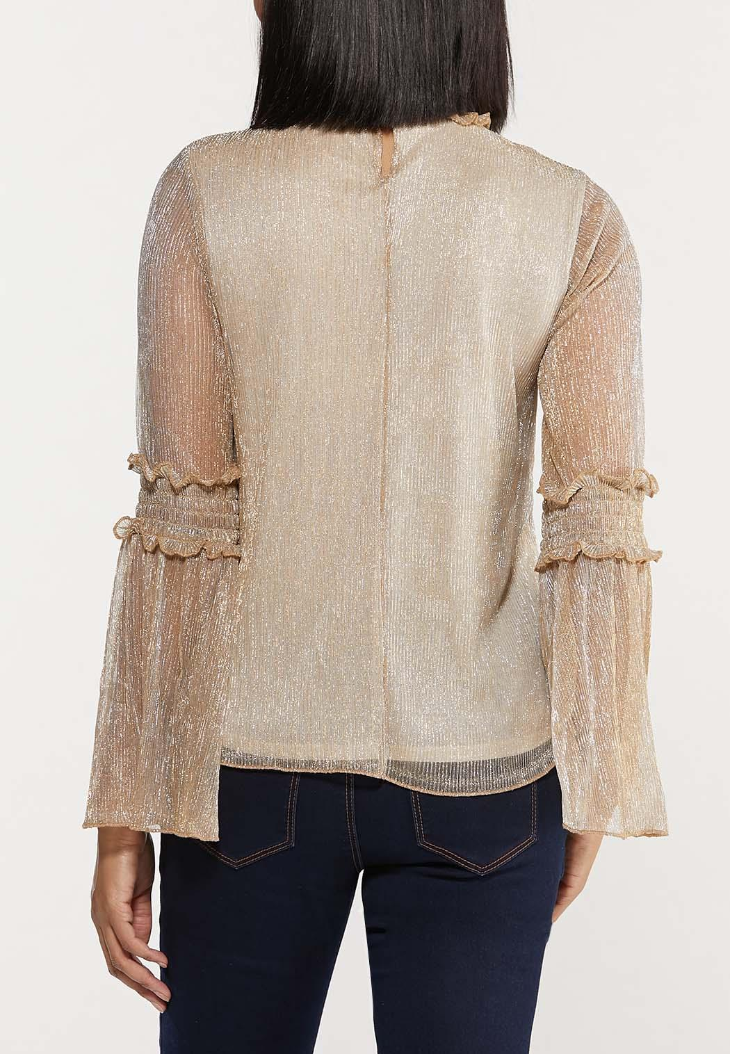 Plus Size Gold Shimmer Bell Sleeve Top (Item #44442670)