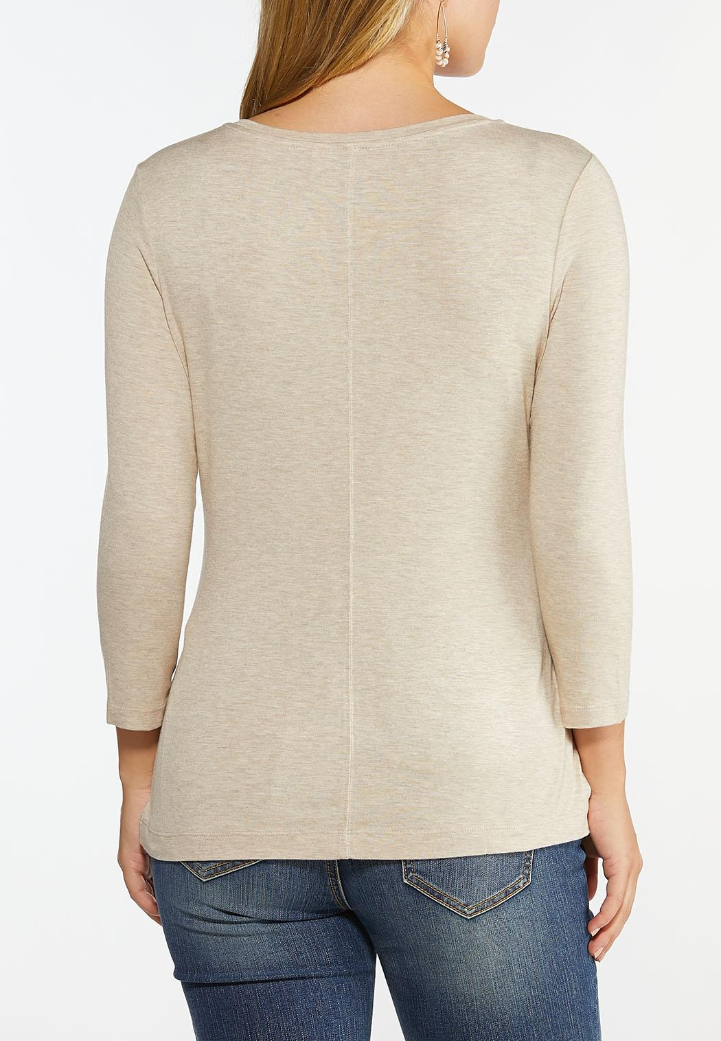 Plus Size Solid Long Sleeve Tee Shirt (Item #44443030)