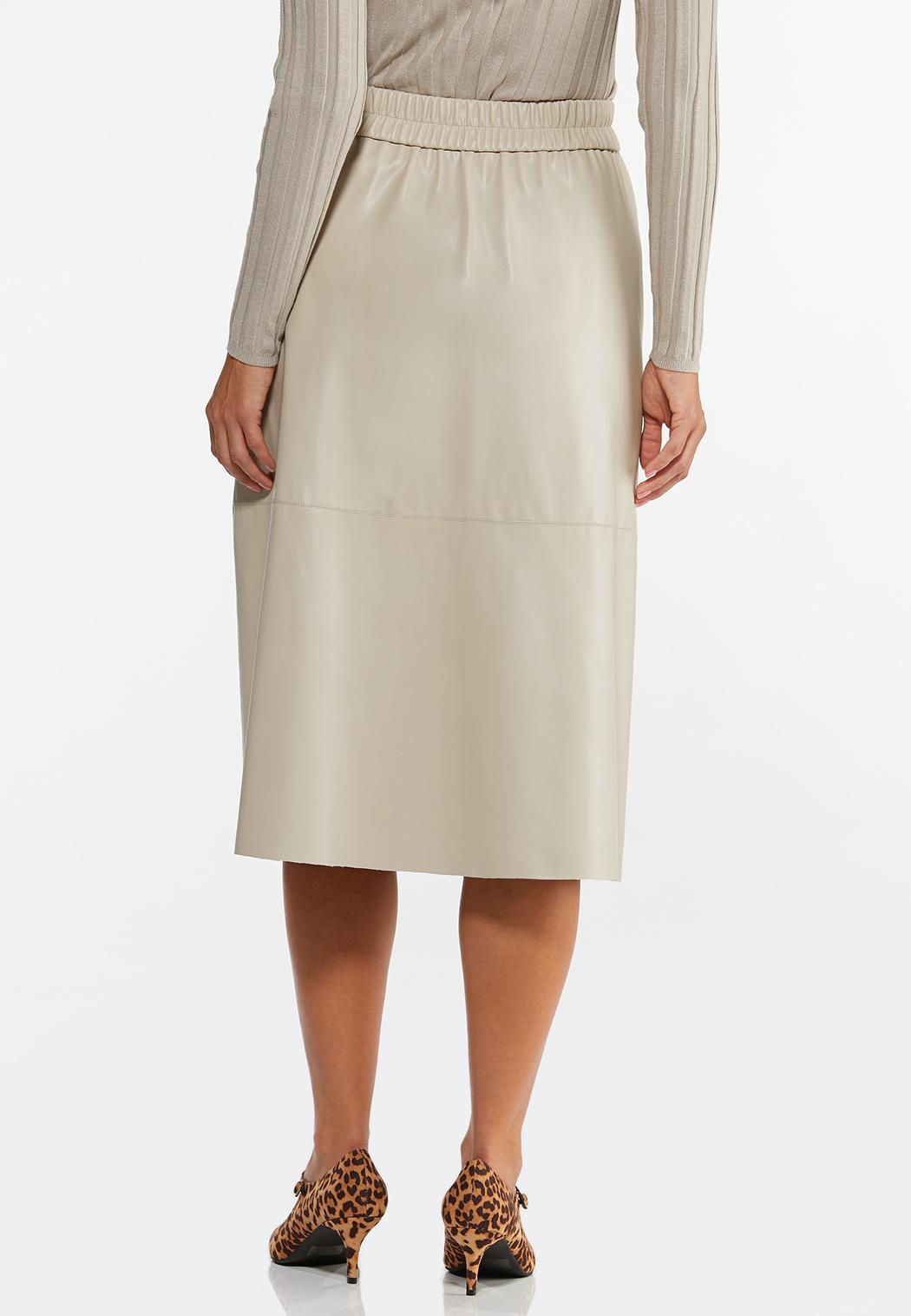 Faux Leather Midi Skirt (Item #44443416)
