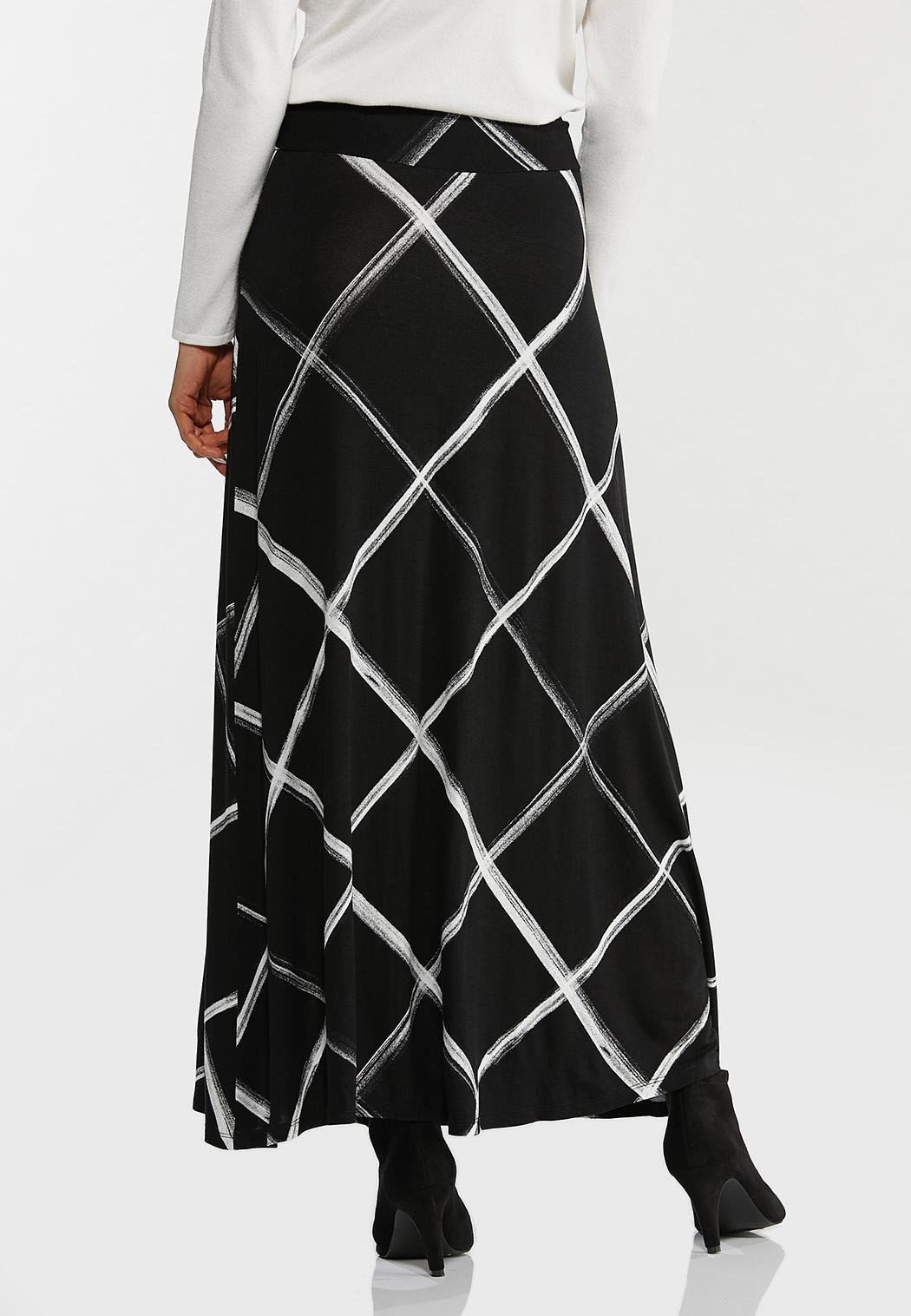 Brushed Windowpane Maxi Skirt (Item #44443572)