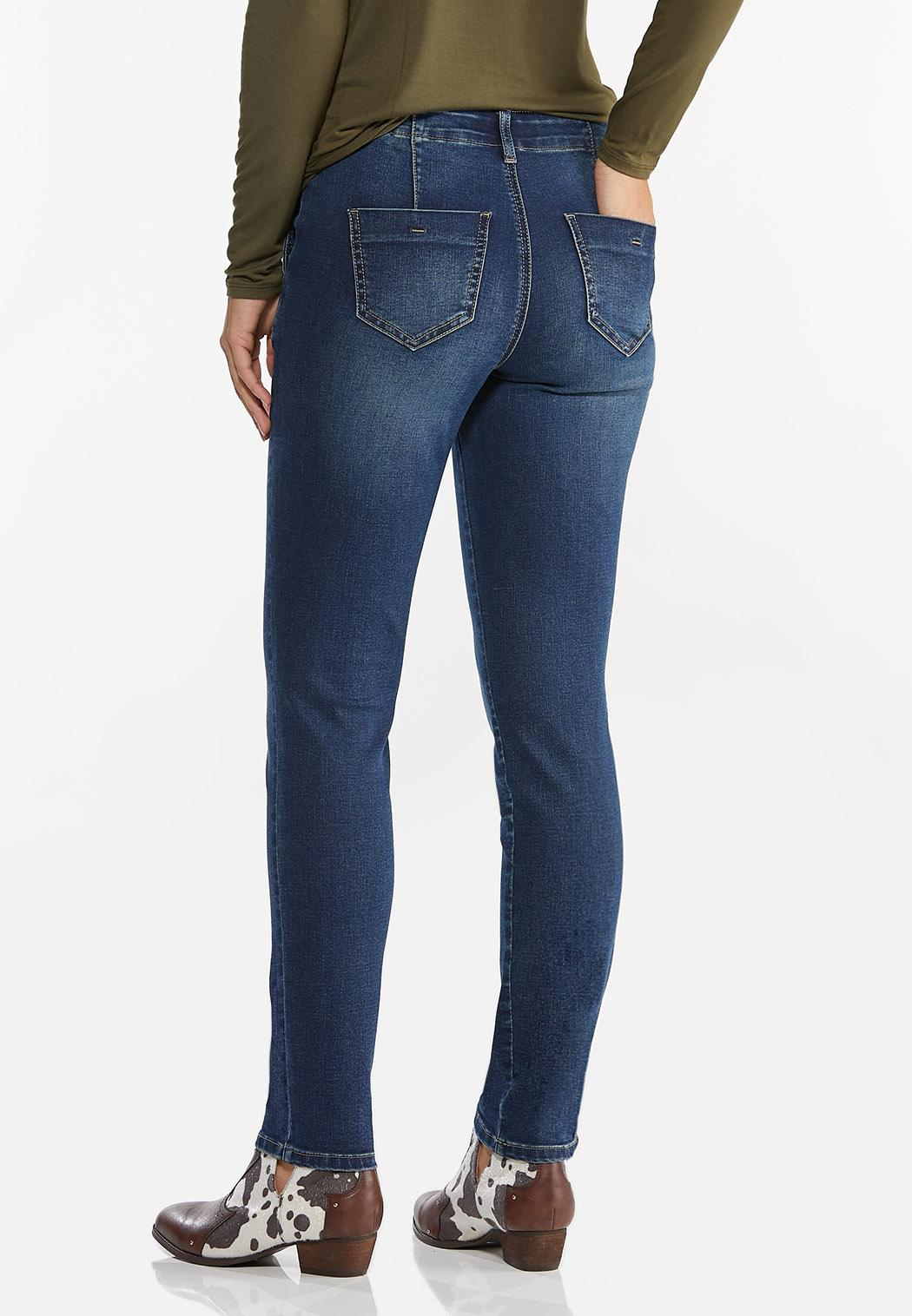High-Rise Button Skinny Jeans (Item #44444026)