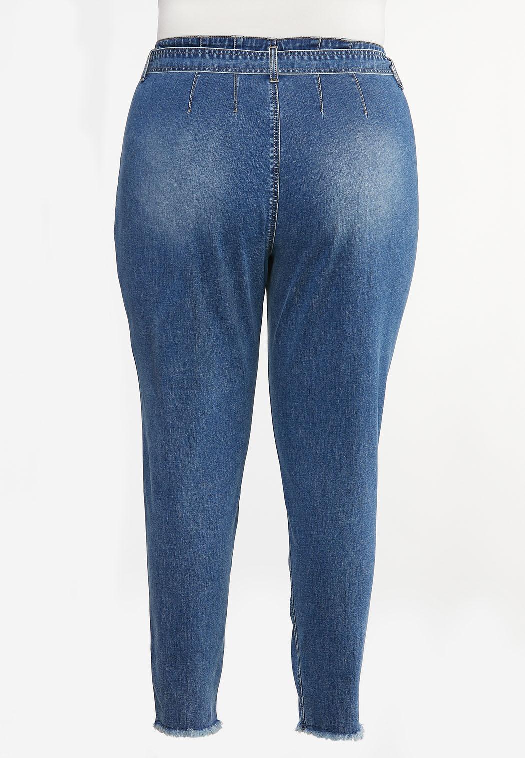 Plus Size Tie Waist Jeans (Item #44444661)