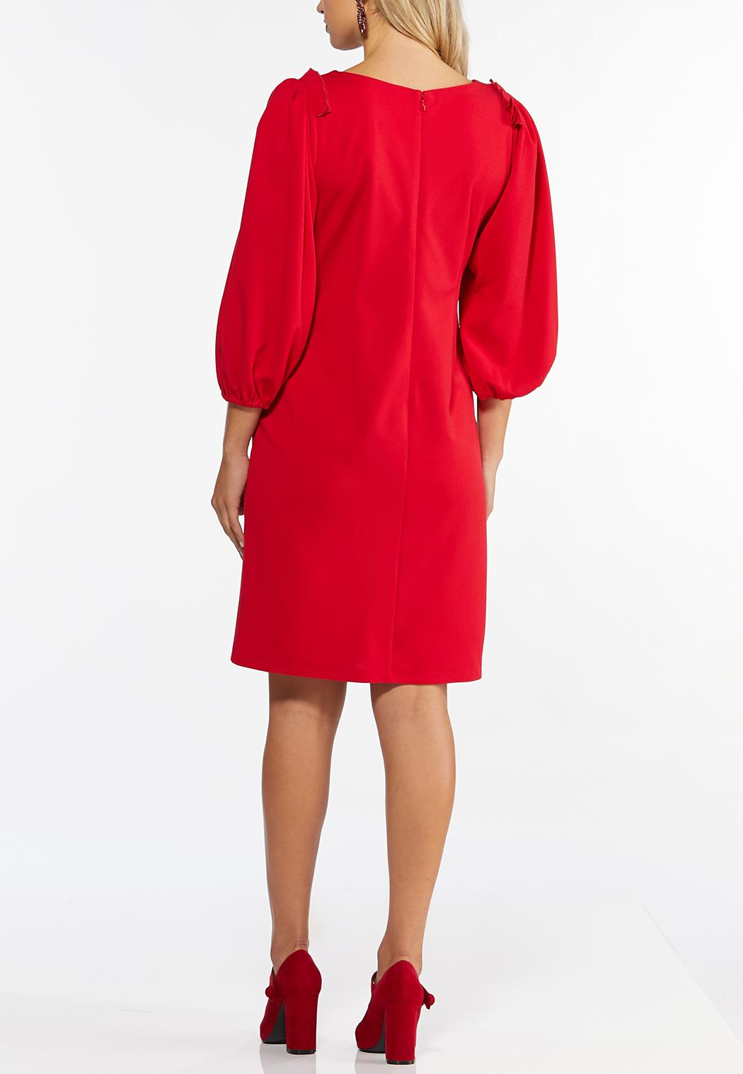 Plus Size Red Pleated Sheath Dress (Item #44445063)
