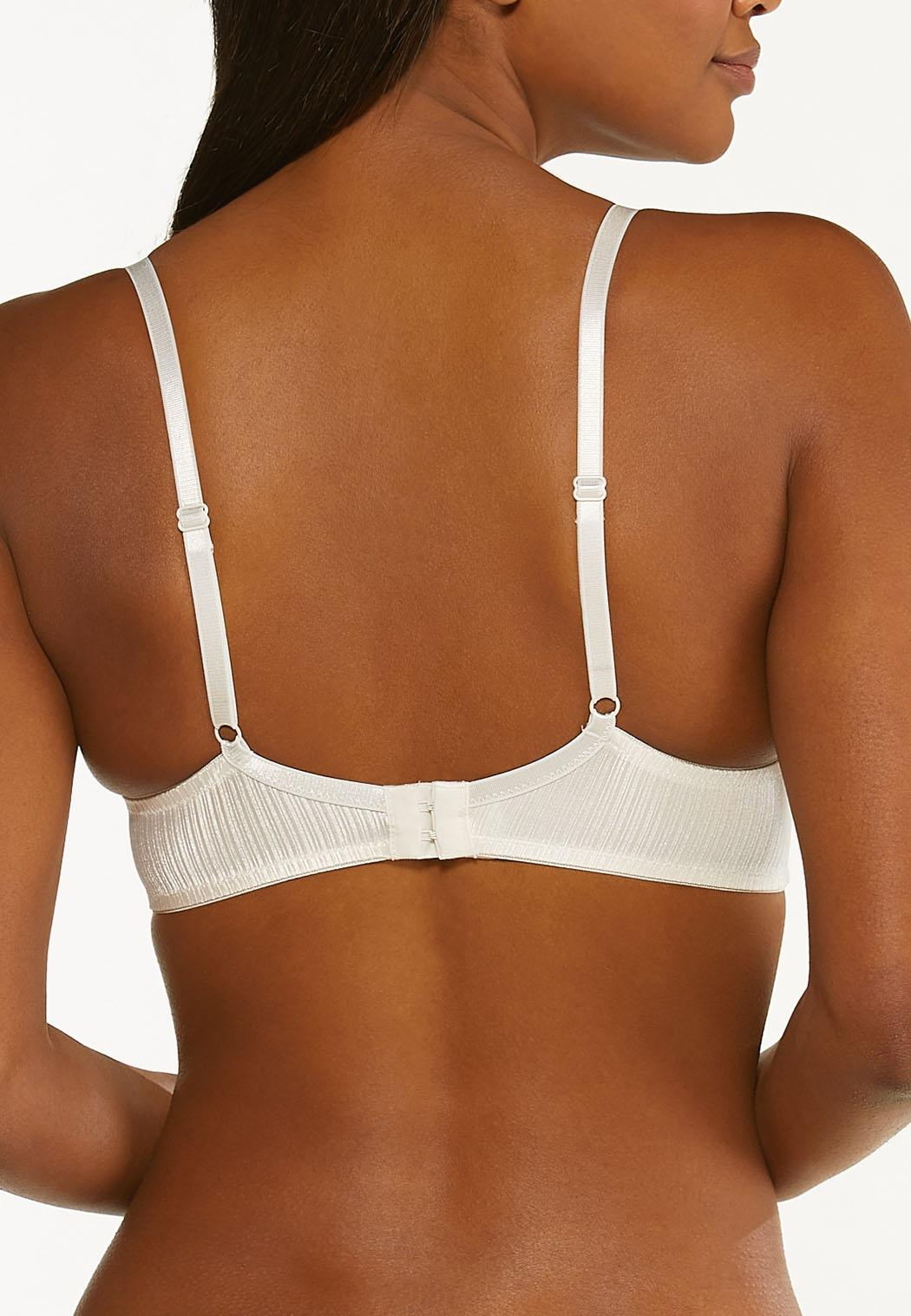 Plus Size Ivory Black Wire-Free Bra Set (Item #44445306)