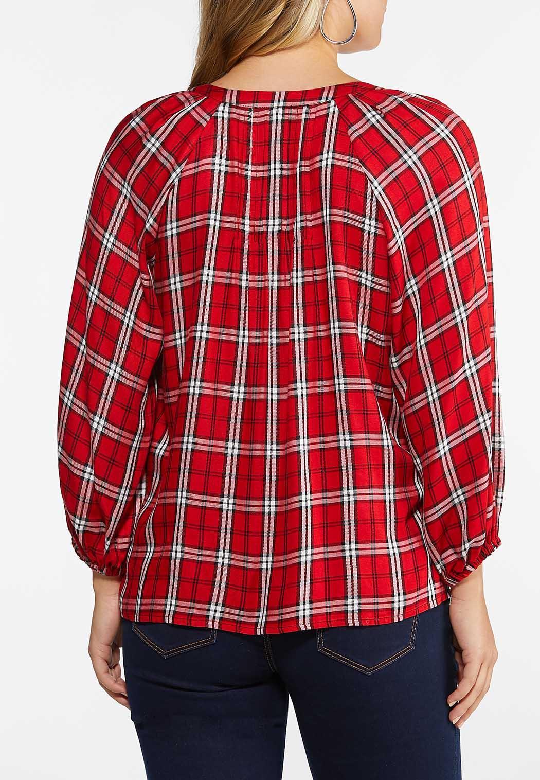 Plus Size Red Plaid Poet Top (Item #44446610)