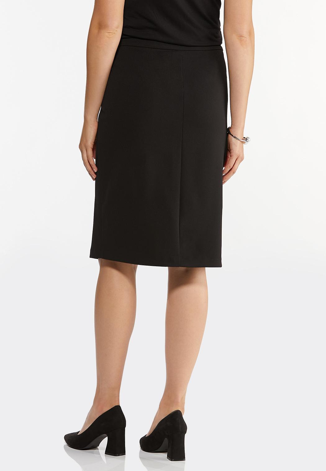Plus Size Silver Button Pencil Skirt (Item #44446810)