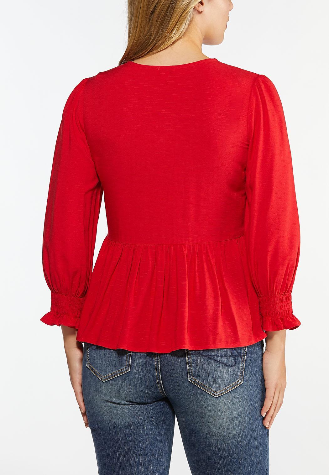 Red Smocked Peplum Top (Item #44446813)