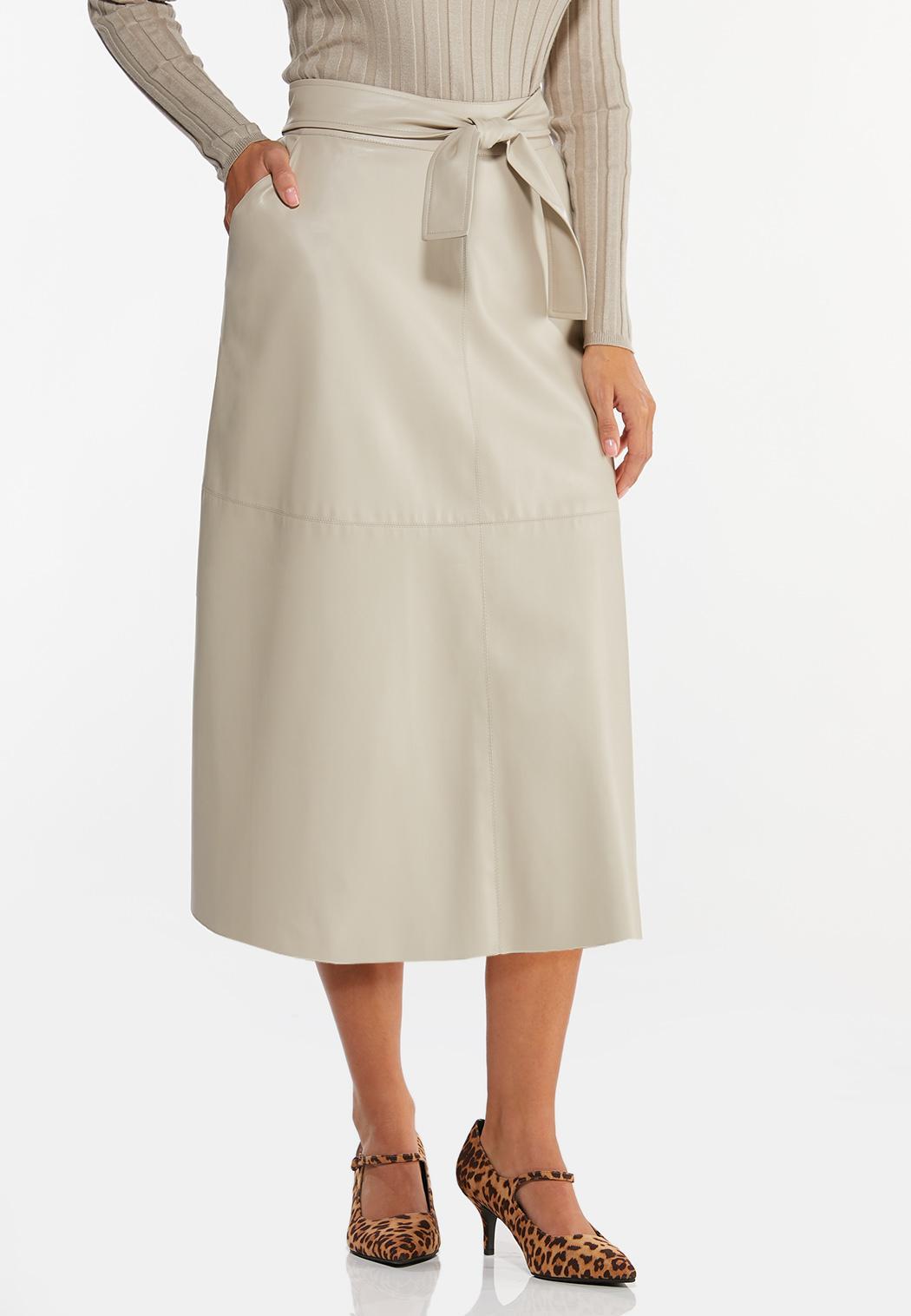 Plus Size Faux Leather Midi Skirt (Item #44446947)