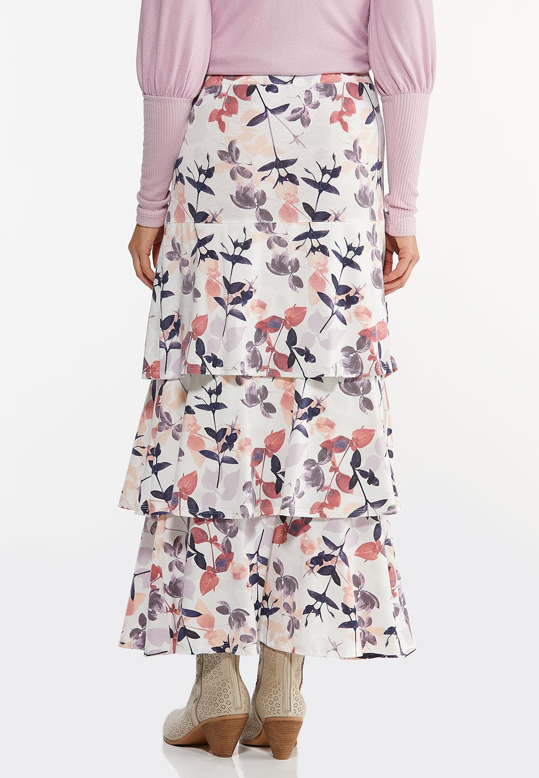 Plus Size Tiered Floral Maxi Skirt (Item #44447028)