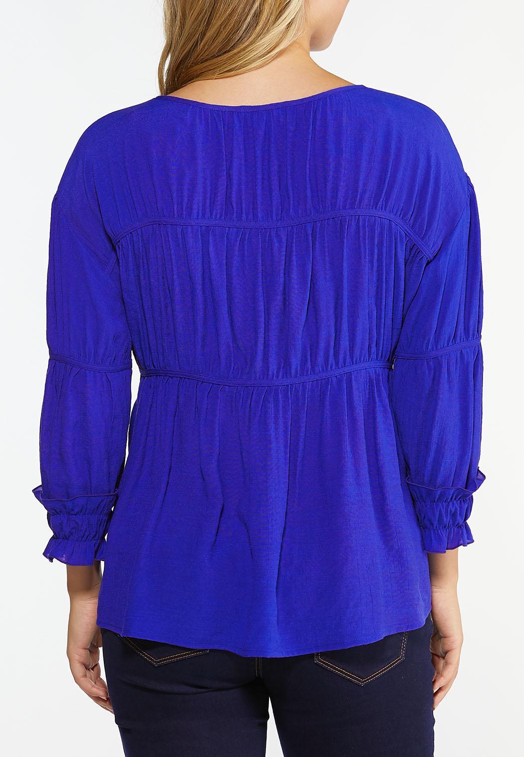 Plus Size Gathered Blue Babydoll Top (Item #44447119)
