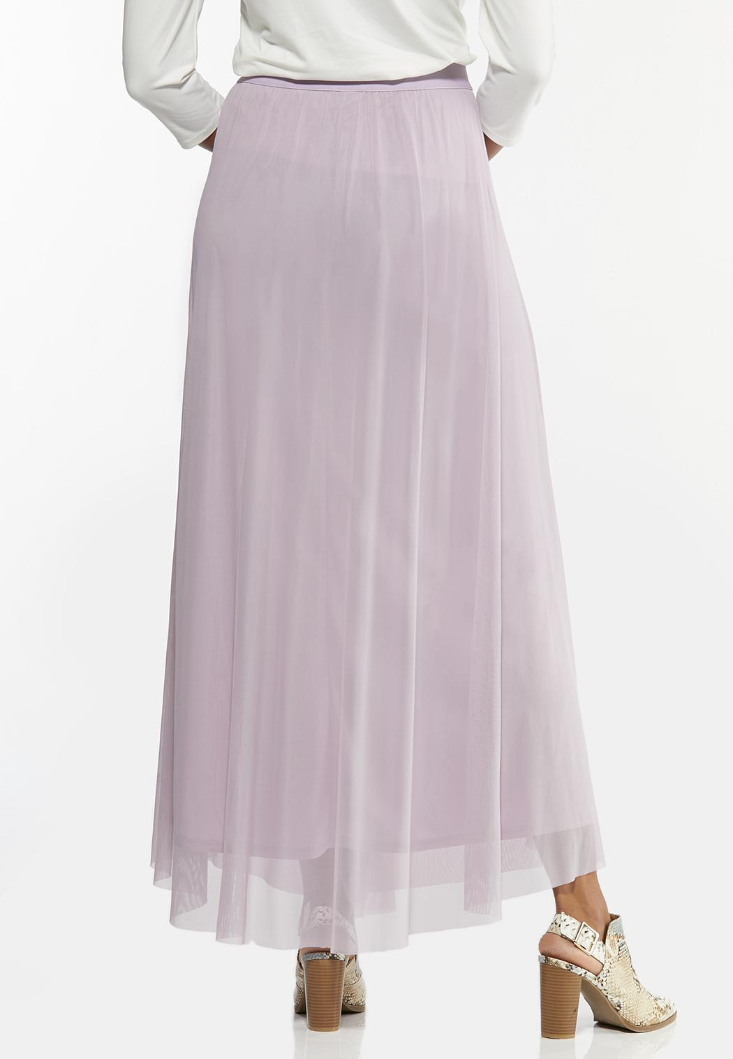 Plus Size Lavender Mesh Maxi Skirt (Item #44447126)