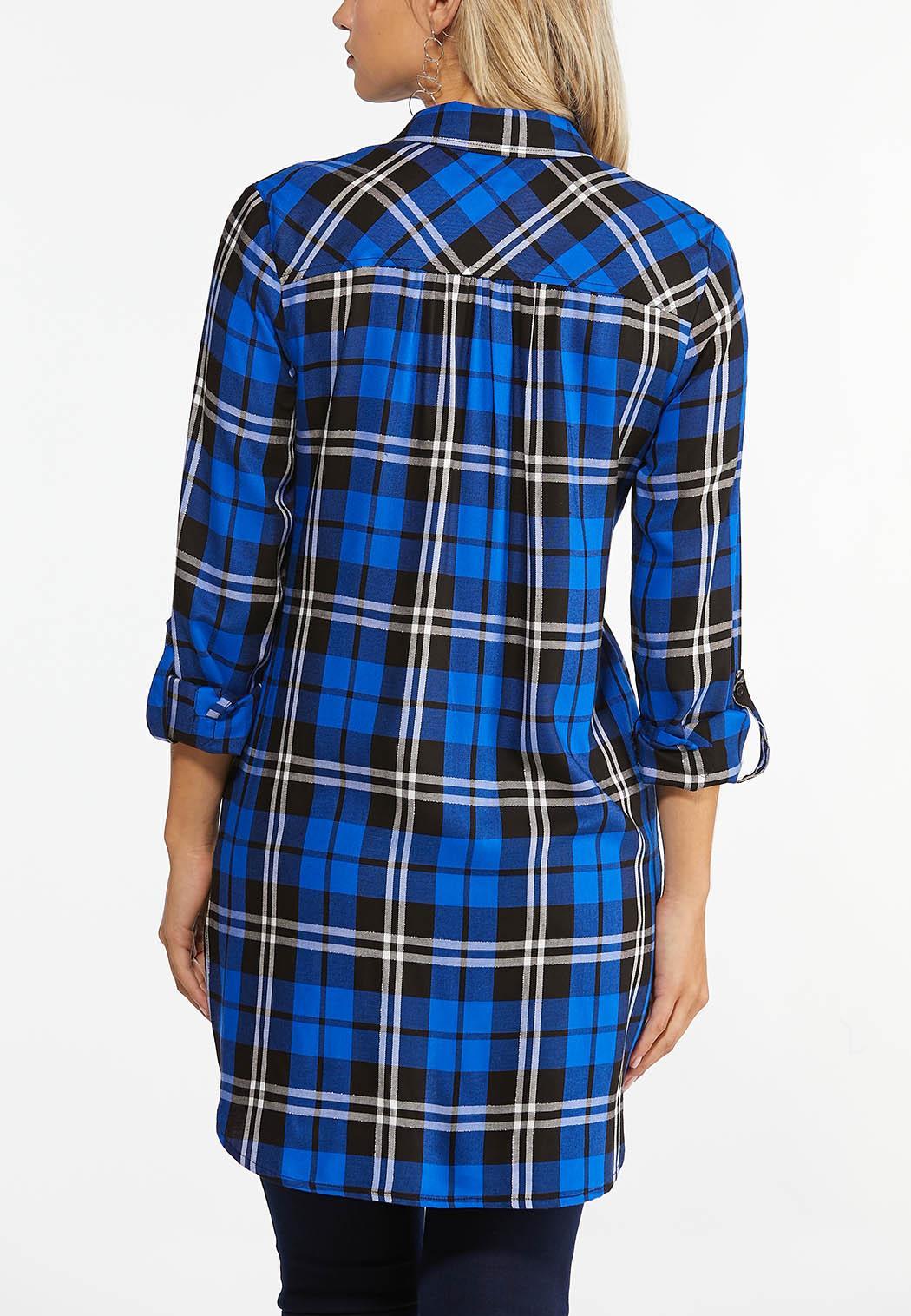Plus Size Blue Plaid Tunic (Item #44447170)