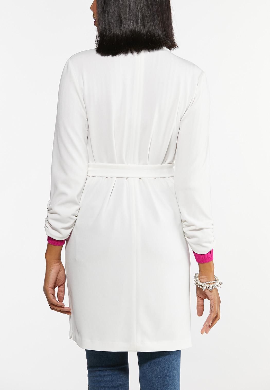 Plus Size Tie Waist Jacket (Item #44447666)