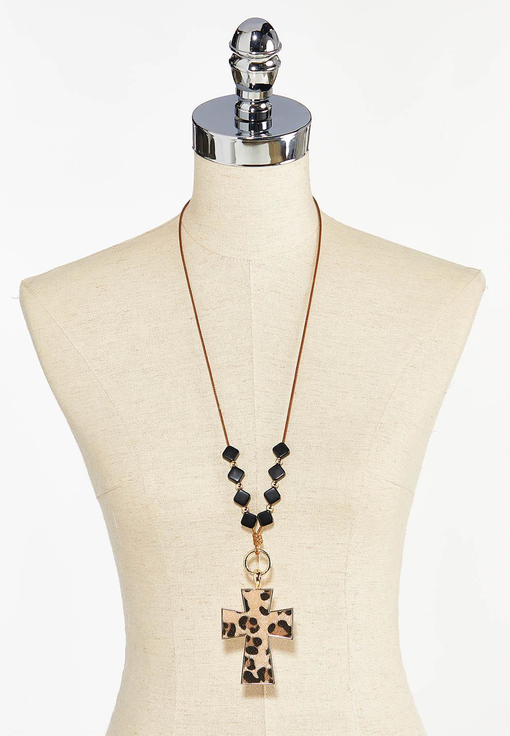 Leopard Cross Pendant Necklace (Item #44448924)