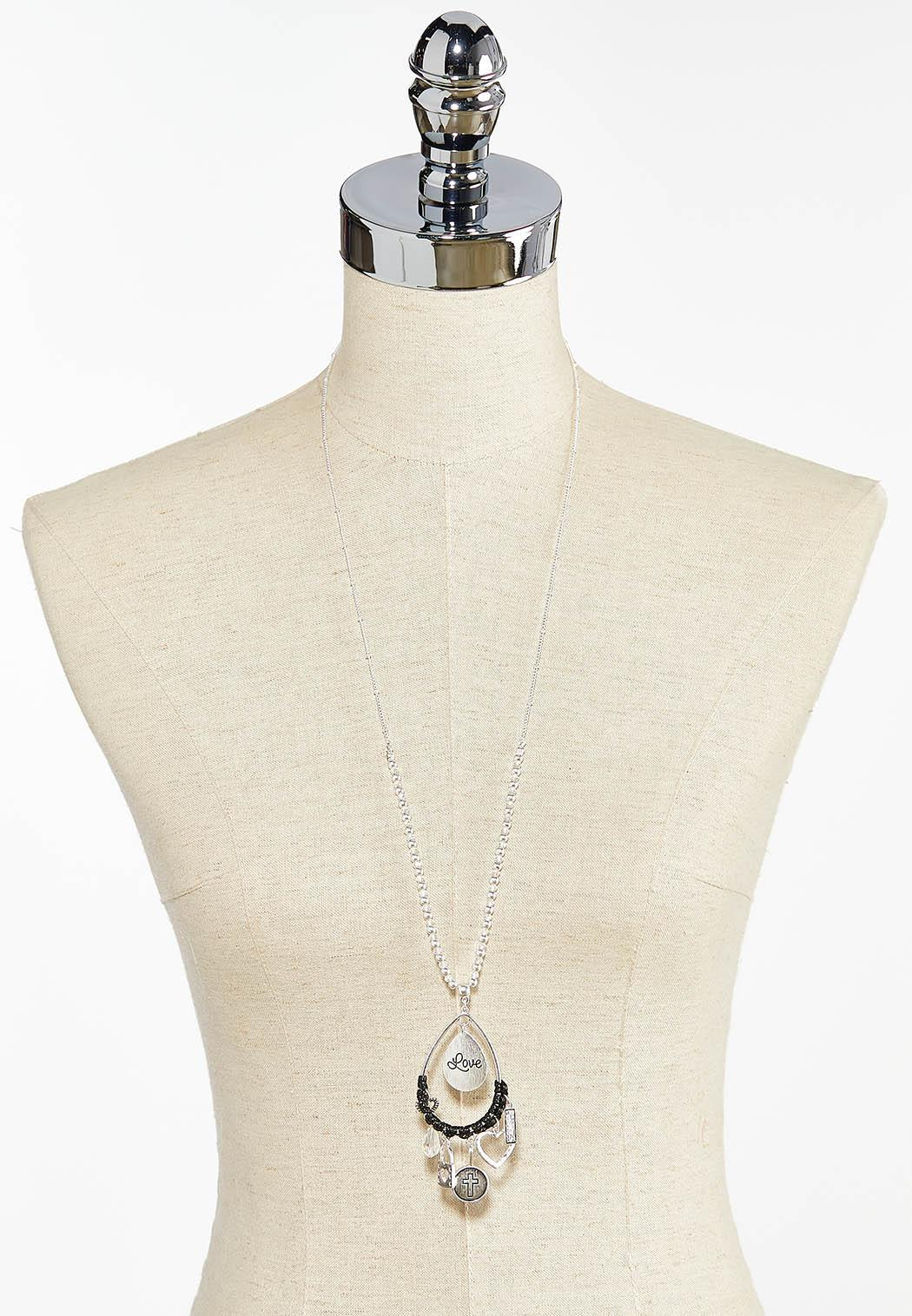 Tear Shaped Inspirational Charm Necklace (Item #44448937)