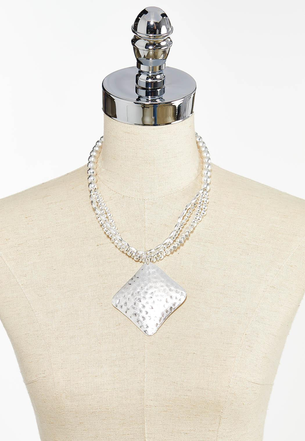 Hammered Metal Pendant Necklace (Item #44448966)