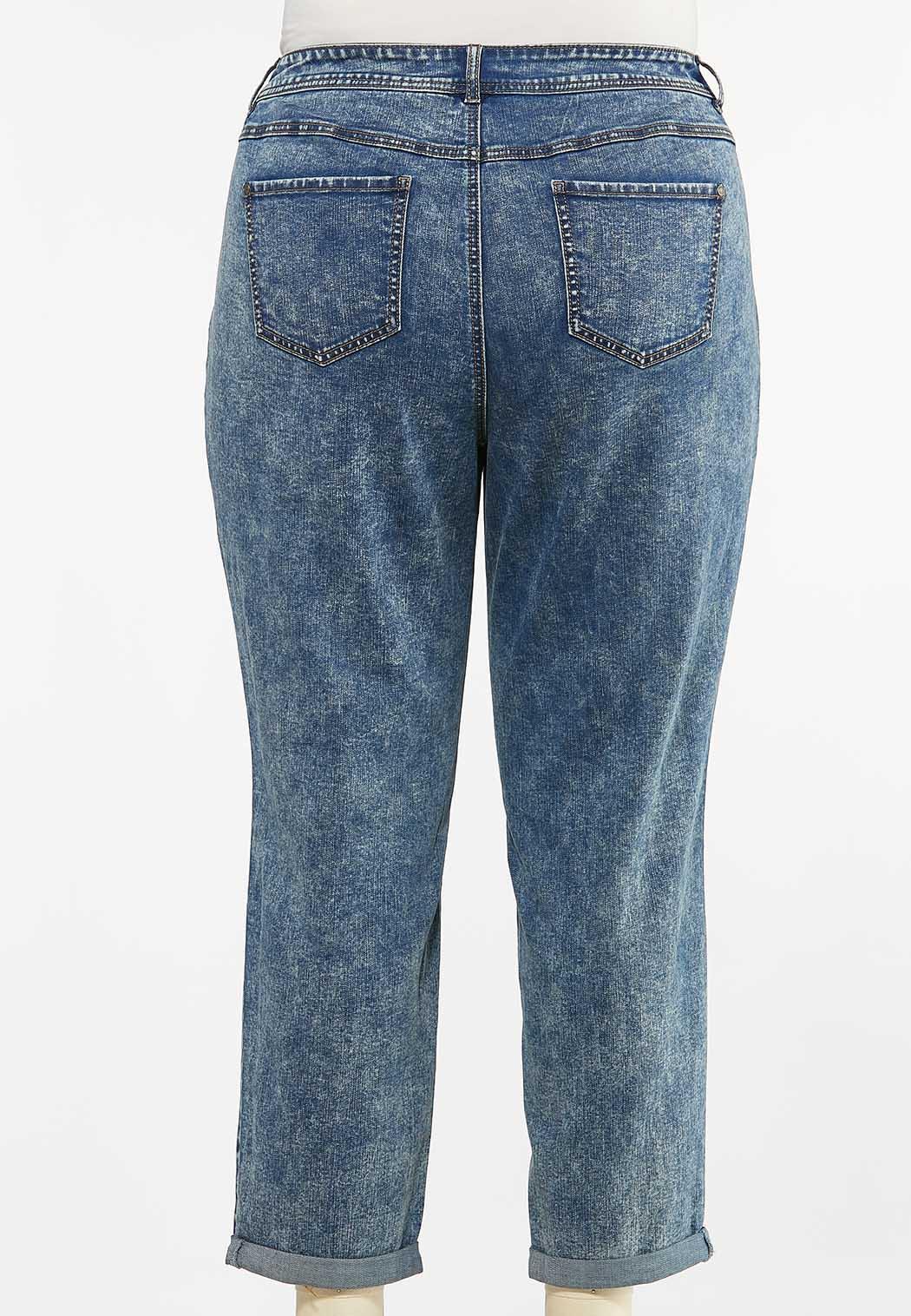 Plus Size Acid Wash Girlfriend Jeans (Item #44449734)