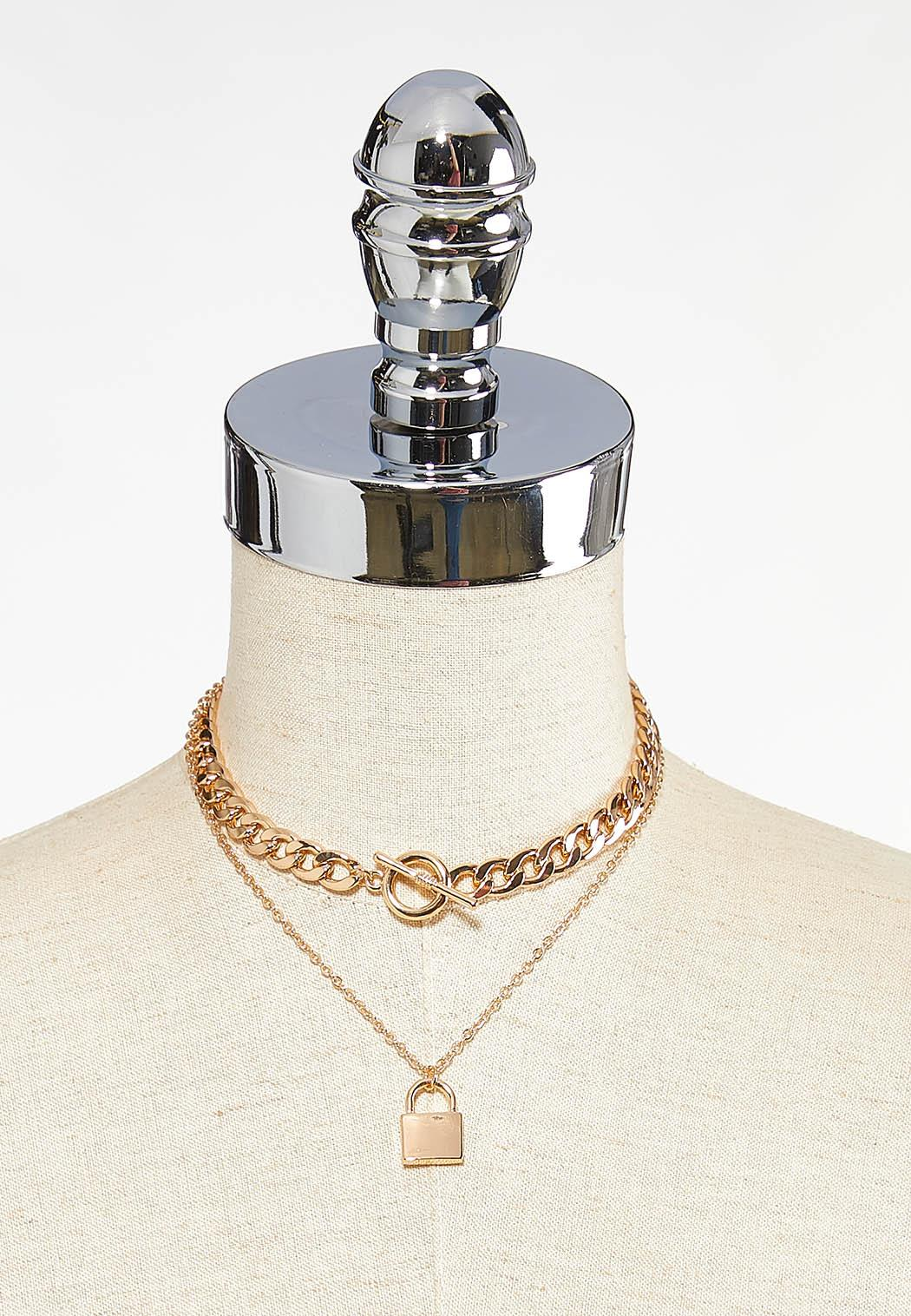 Double Chain Lock Necklace (Item #44449810)
