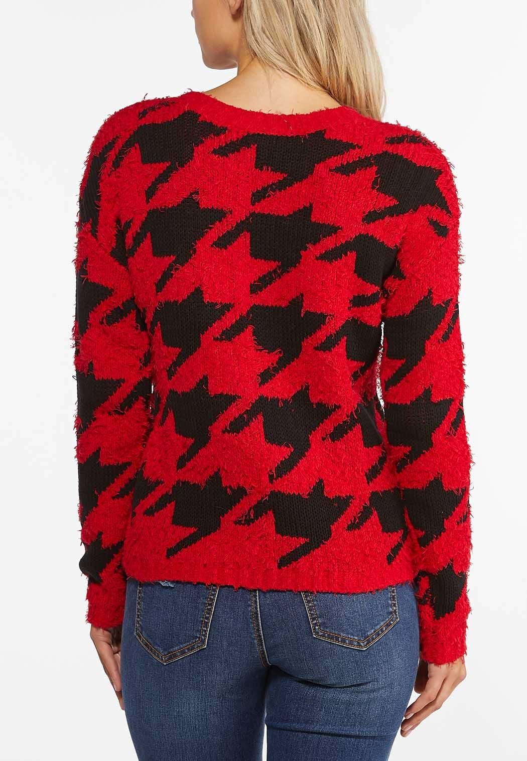 Plus Size Red Houndstooth Sweater (Item #44449815)