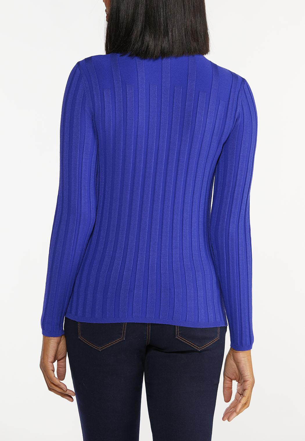 Plus Size Blue Ribbed Sweater (Item #44449986)