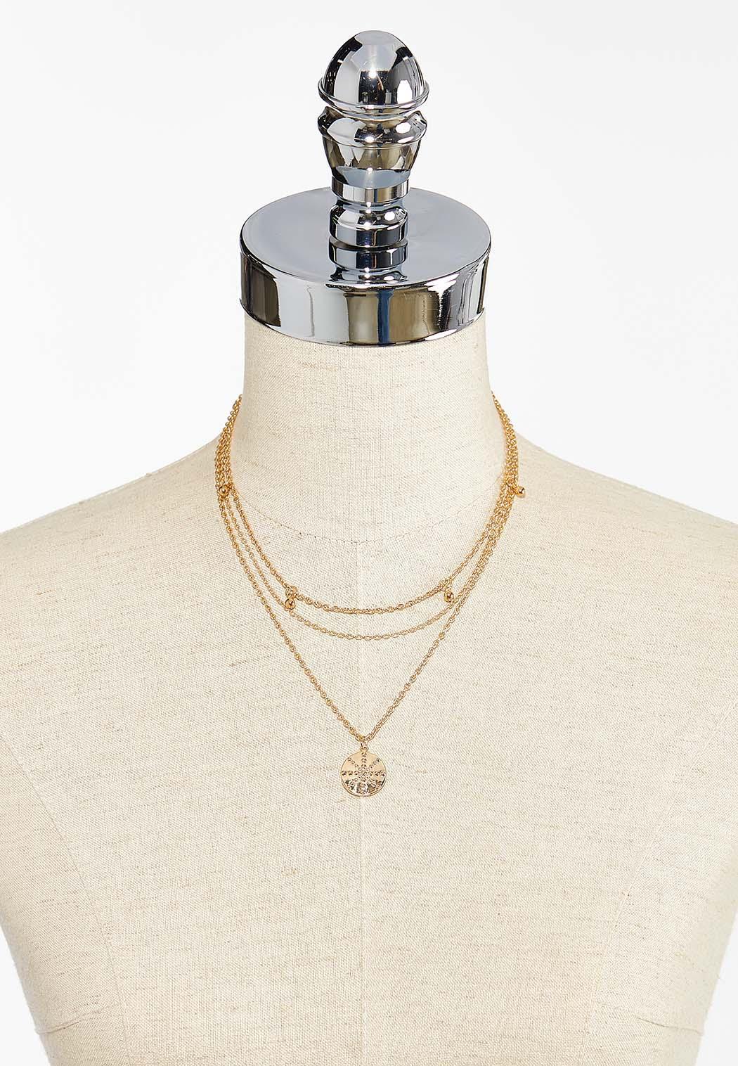 Layered Golden Snowflake Pendant Necklace (Item #44450704)