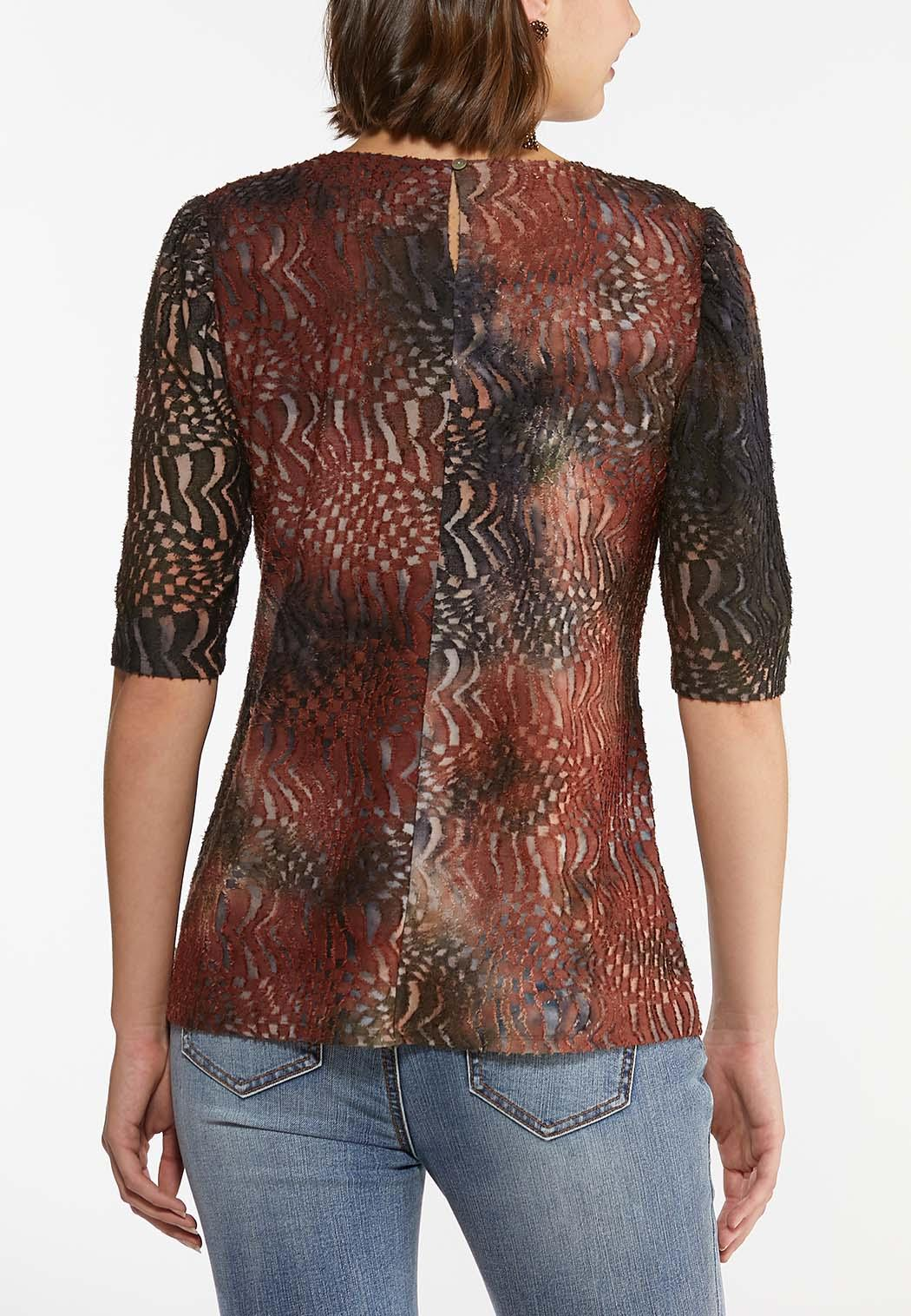 Plus Size Textured Puff Sleeve Top (Item #44451858)