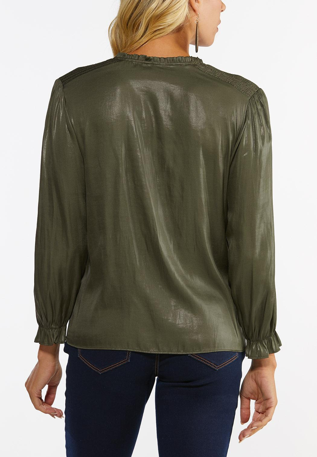 Plus Size Faux Leather Poet Top (Item #44452233)