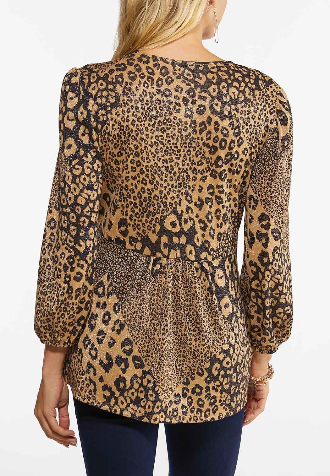 Plus Size Sparkle Leopard Babydoll Top (Item #44452330)