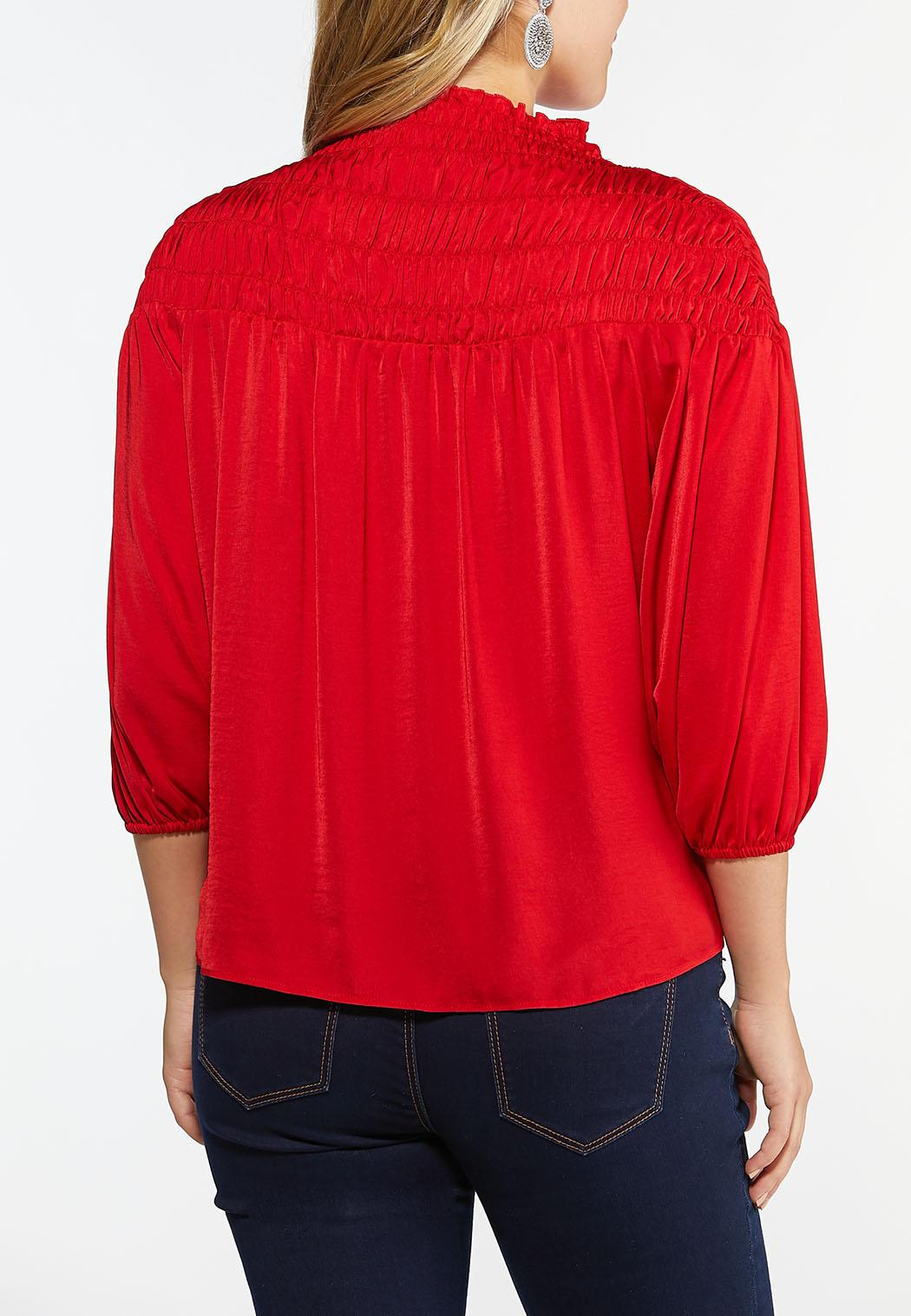 Plus Size Smocked Mock Neck Top (Item #44452377)