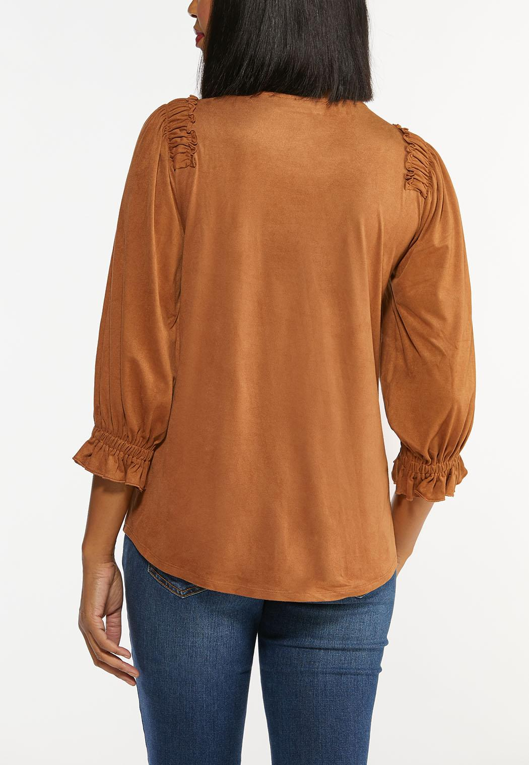 Plus Size Faux Suede Ruffled Top (Item #44452776)