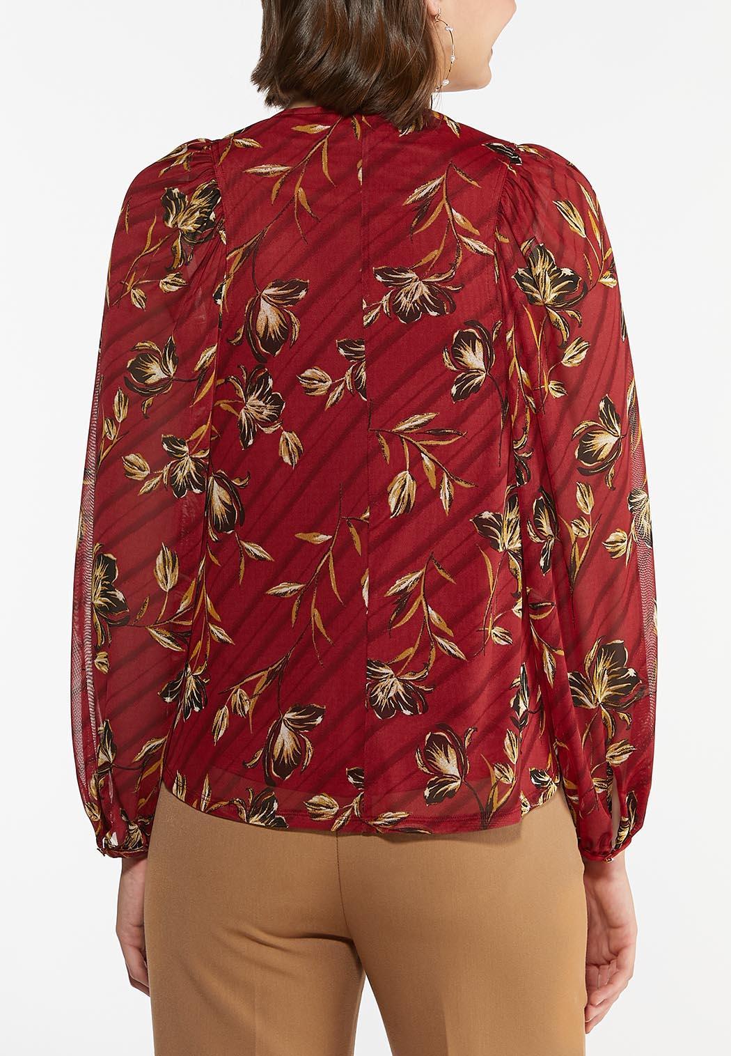 Plus Size Floral Mesh Sleeve Top (Item #44453148)