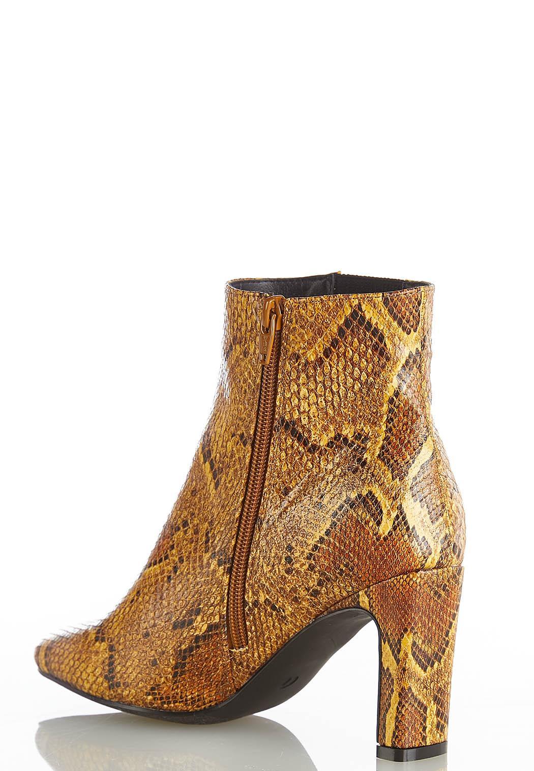 Snakeskin Heeled Ankle Boots (Item #44453487)