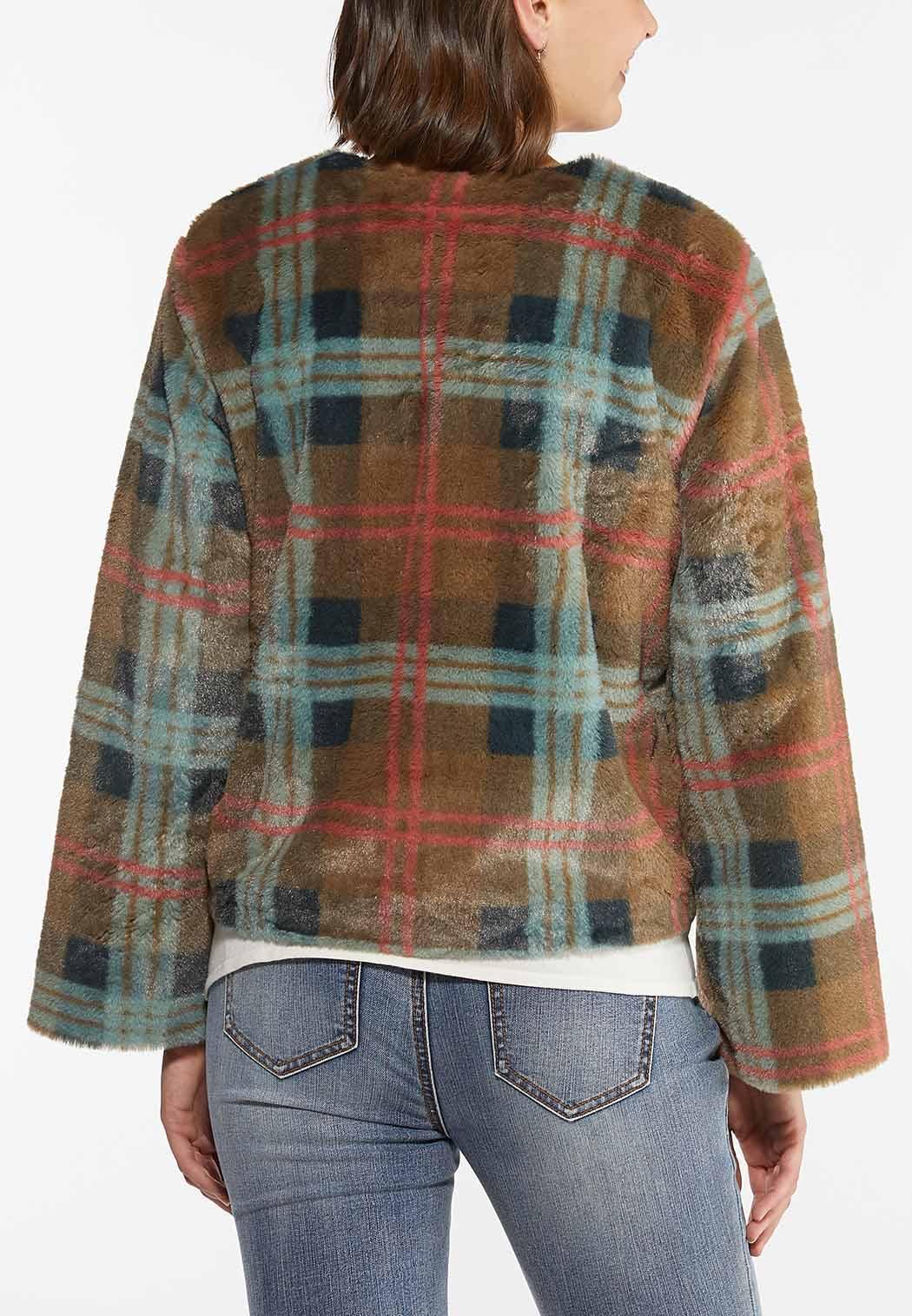 Plus Size Plaid Faux Fur Jacket (Item #44454299)