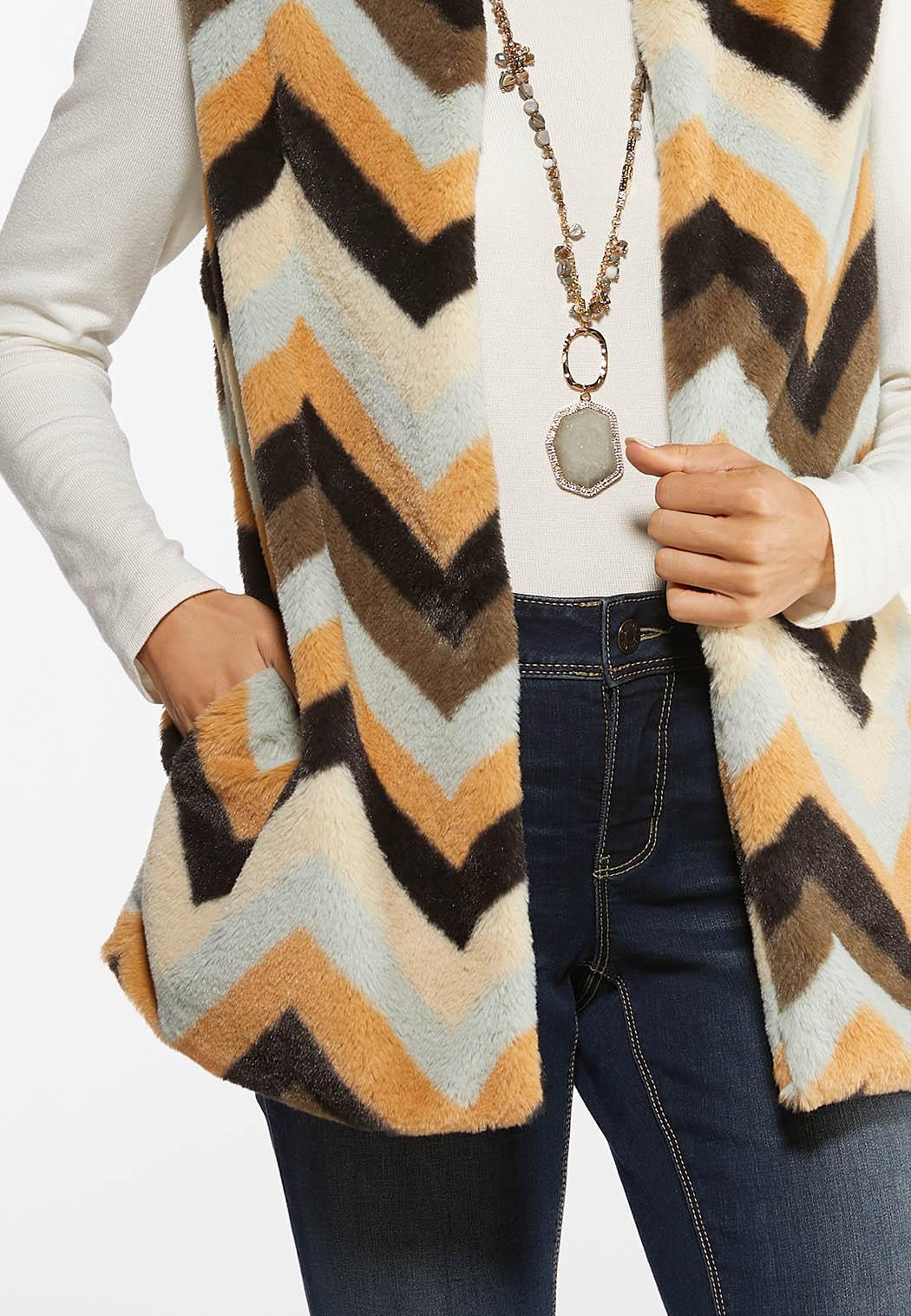 Plus Size Chevron Faux Fur Vest (Item #44454356)