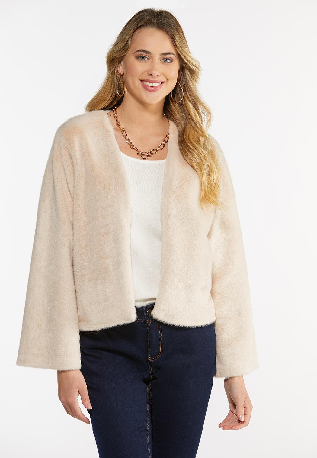 Plus Size Faux Fur Open Jacket (Item #44454549)