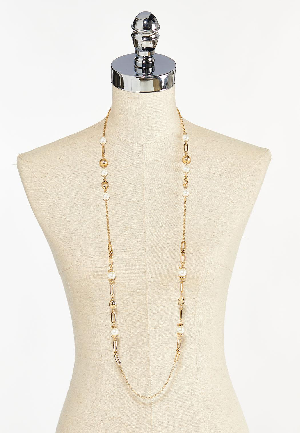 Textured Metal Pearl Necklace (Item #44455510)