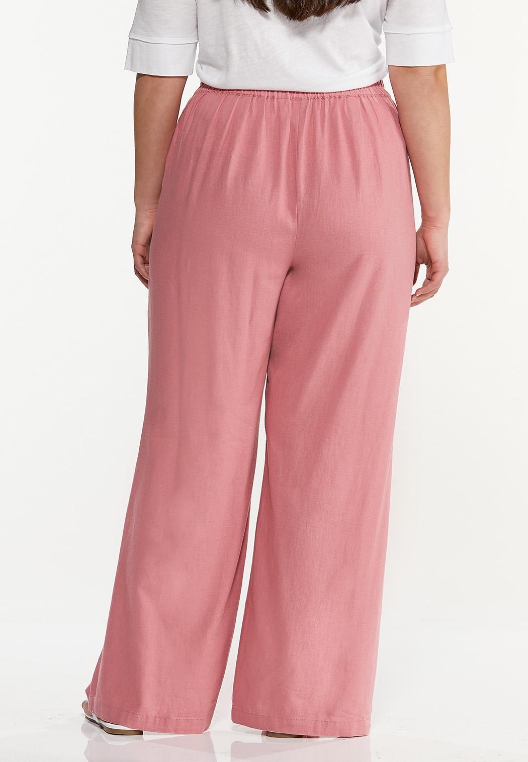 Plus Size Rose Linen Pants (Item #44456581)