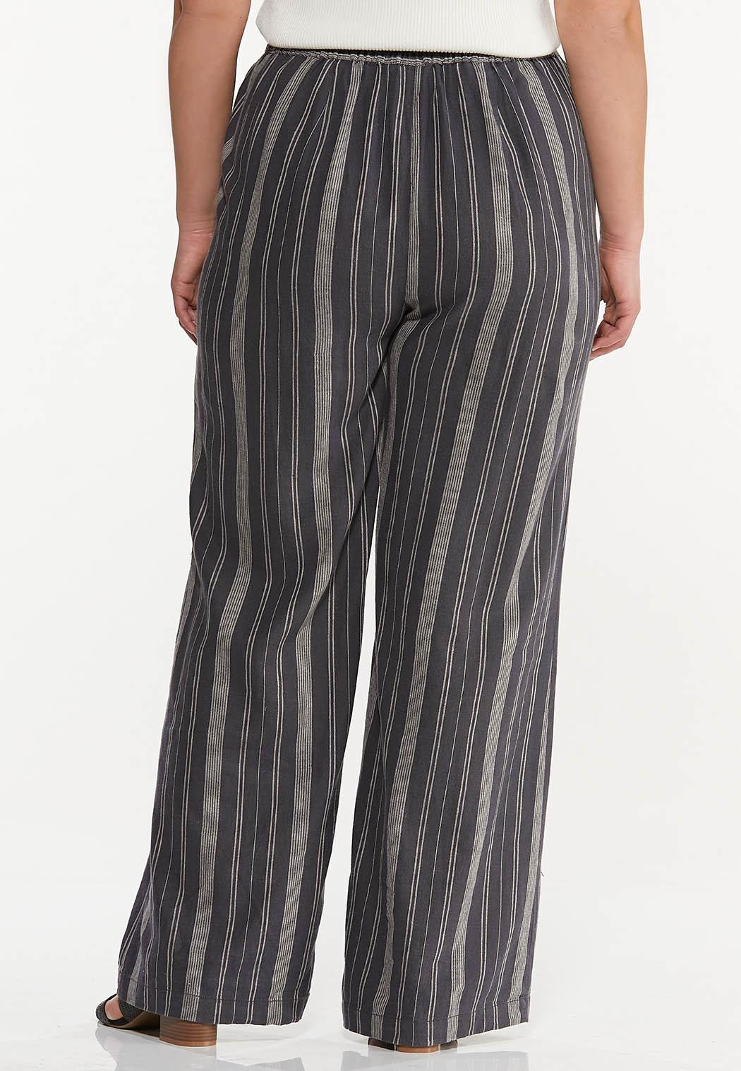 Plus Size Stripe Linen Pants (Item #44456956)