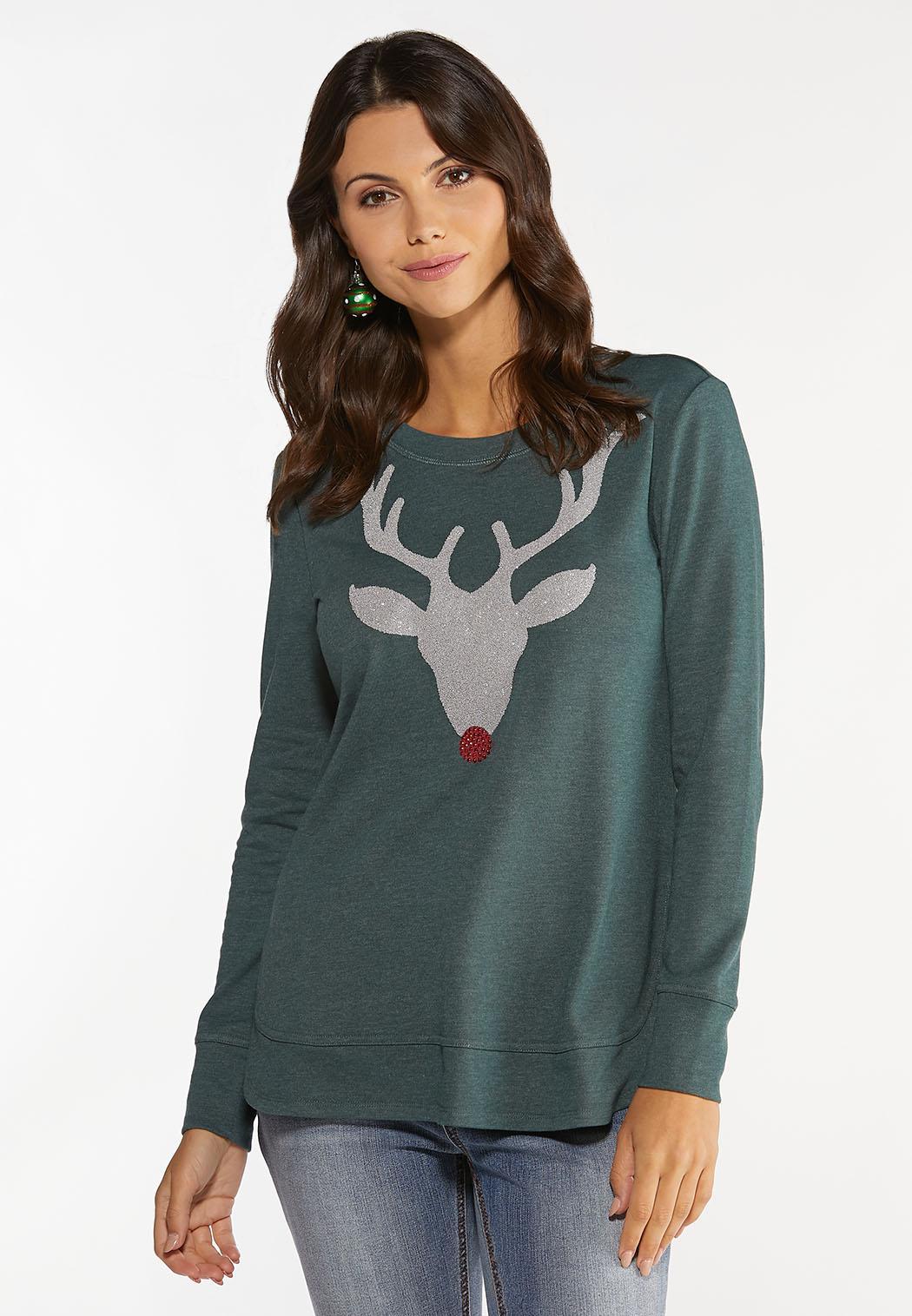 Plus Size Beaded Reindeer Sweatshirt (Item #44457165)
