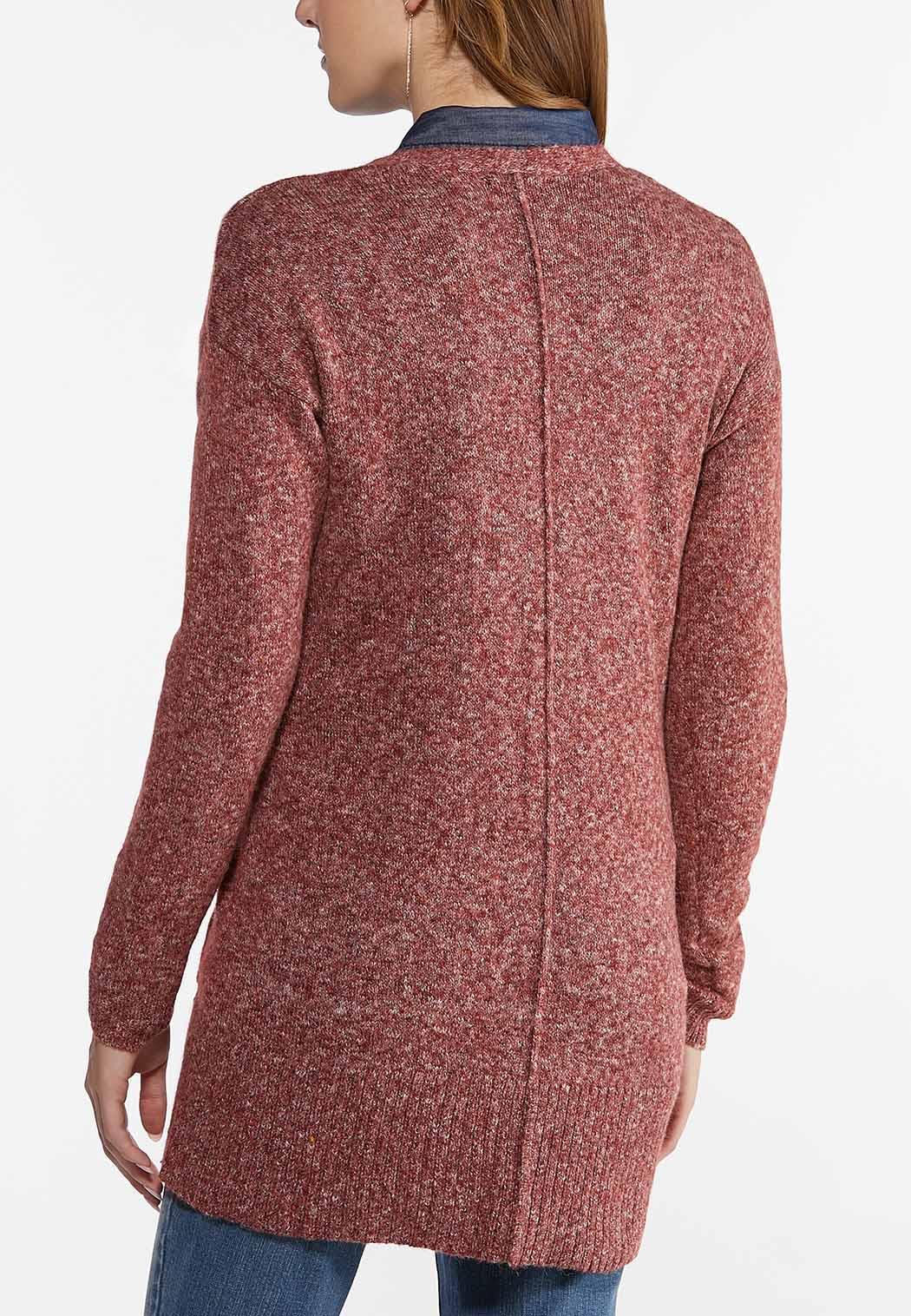 Plus Size Space Dye Cardigan Sweater (Item #44457204)