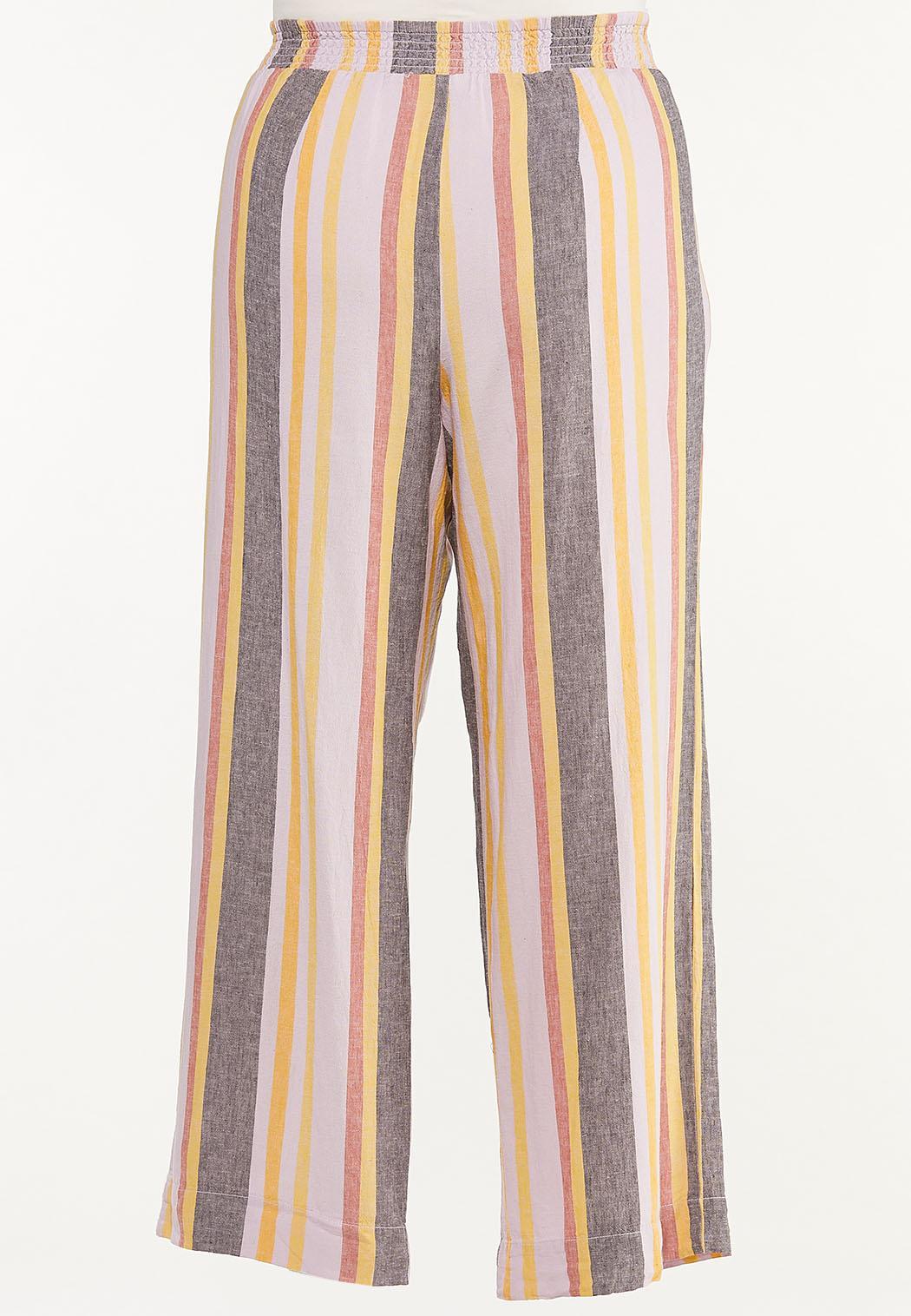 Plus Size Striped Linen Pants (Item #44457350)